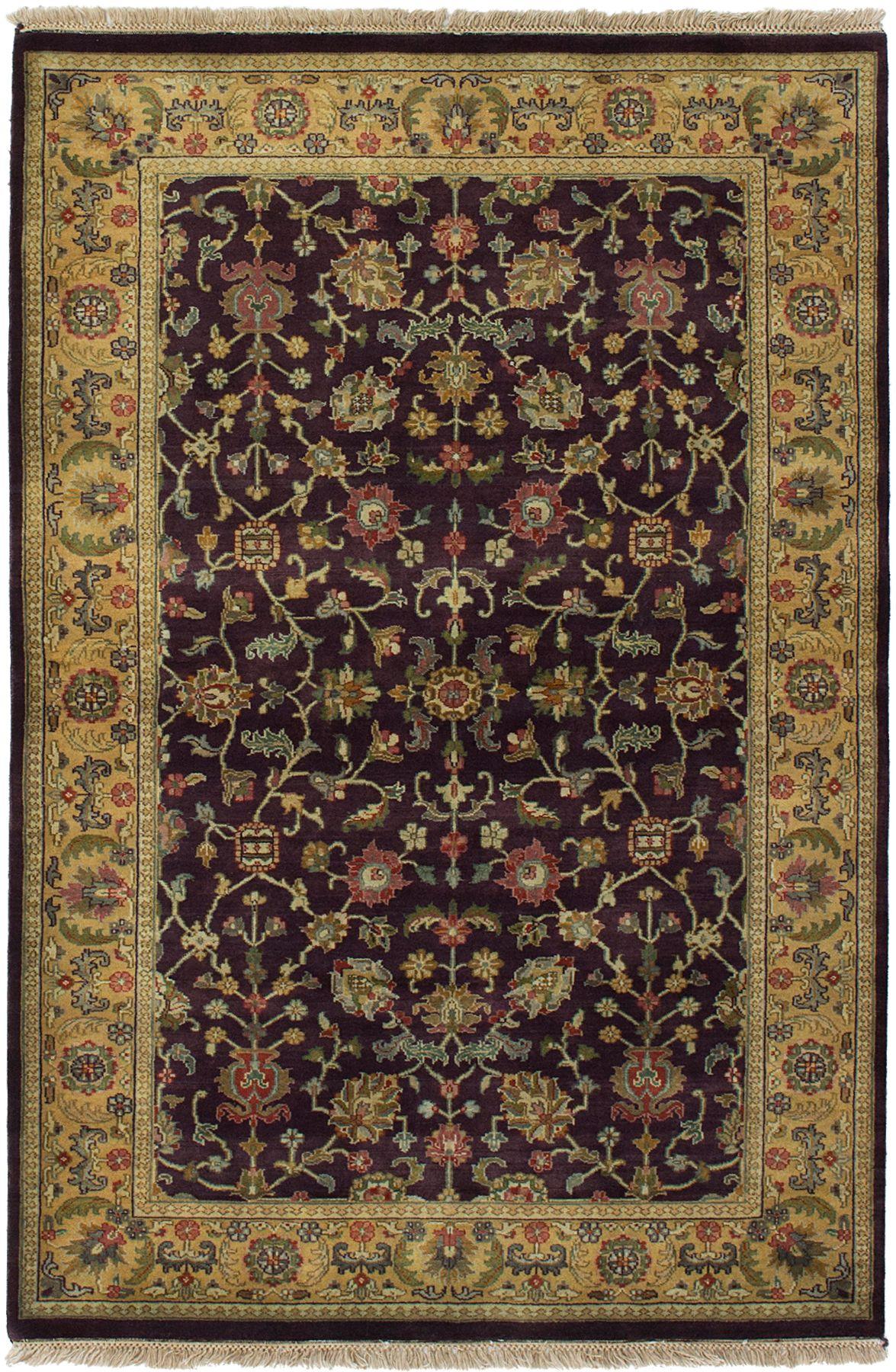 "Hand-knotted Jamshidpour Dark Burgundy Wool Rug 4'1"" x 6'2"" Size: 4'1"" x 6'2"""