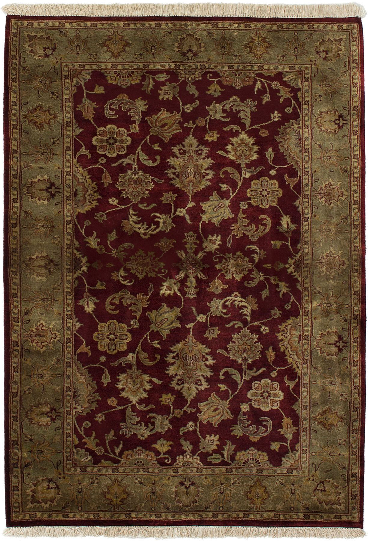 """Hand-knotted Jamshidpour Dark Red Wool Rug 4'0"""" x 5'9"""" Size: 4'0"""" x 5'9"""""""