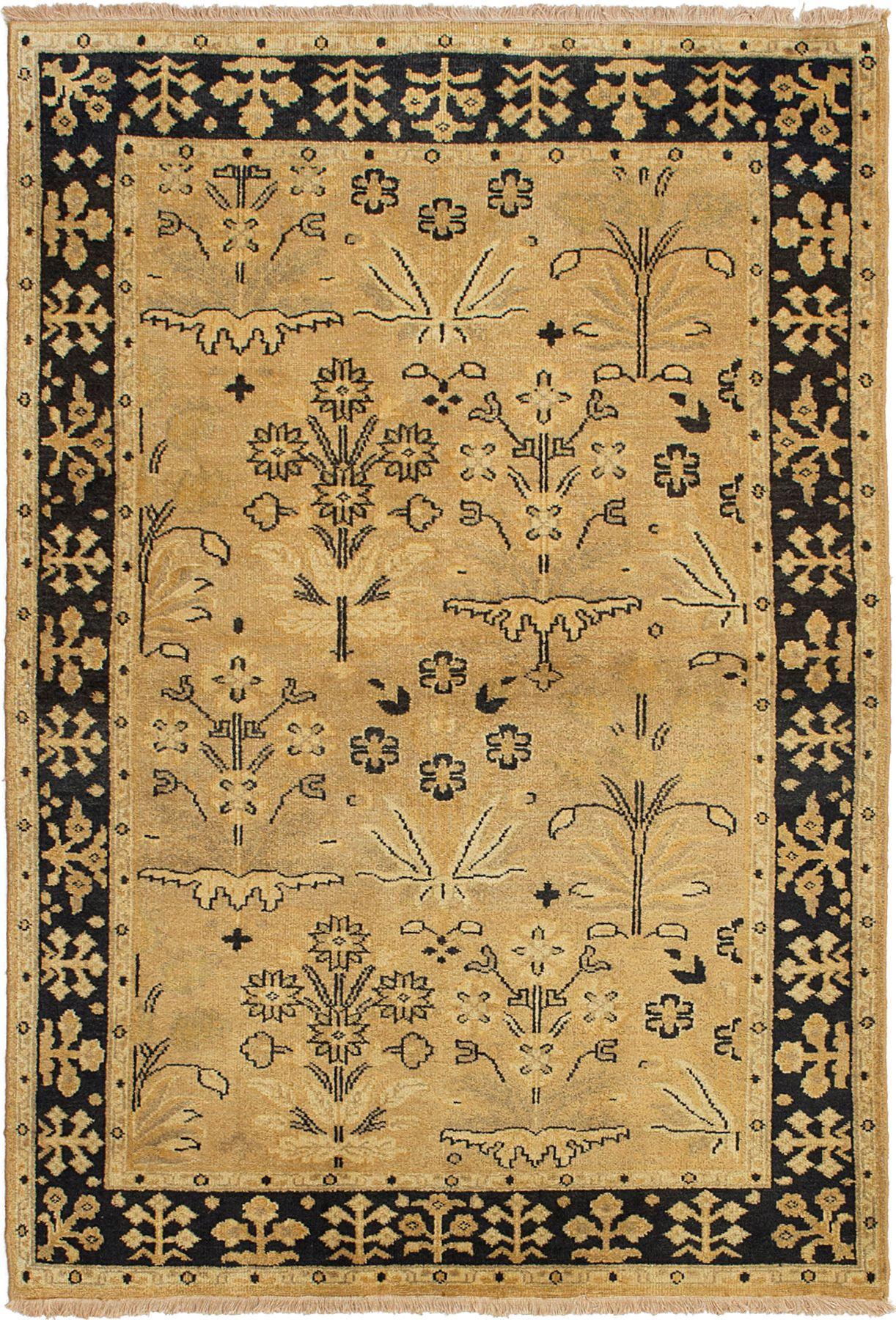 """Hand-knotted Royal Mahal Light Gold Wool Rug 3'10"""" x 5'8"""" Size: 3'10"""" x 5'8"""""""