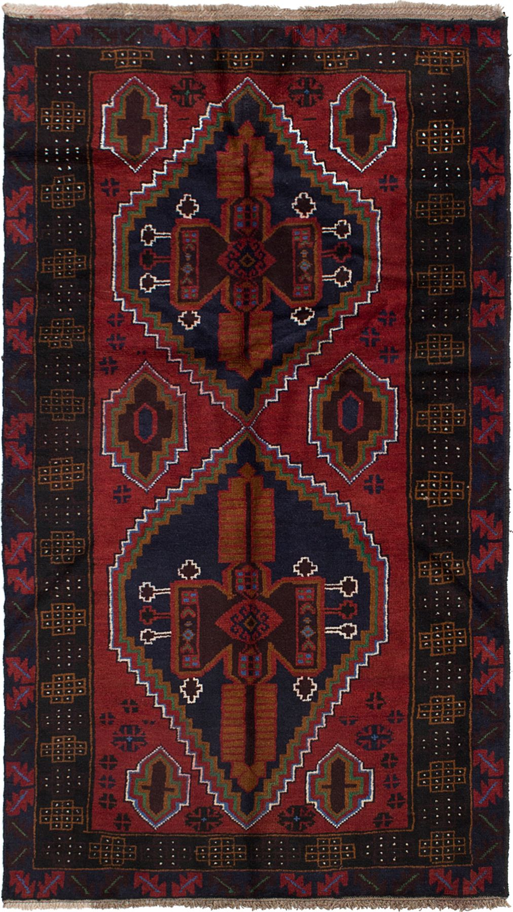 """Hand-knotted Rizbaft Red Wool Rug 3'4"""" x 6'4""""  Size: 3'4"""" x 6'4"""""""