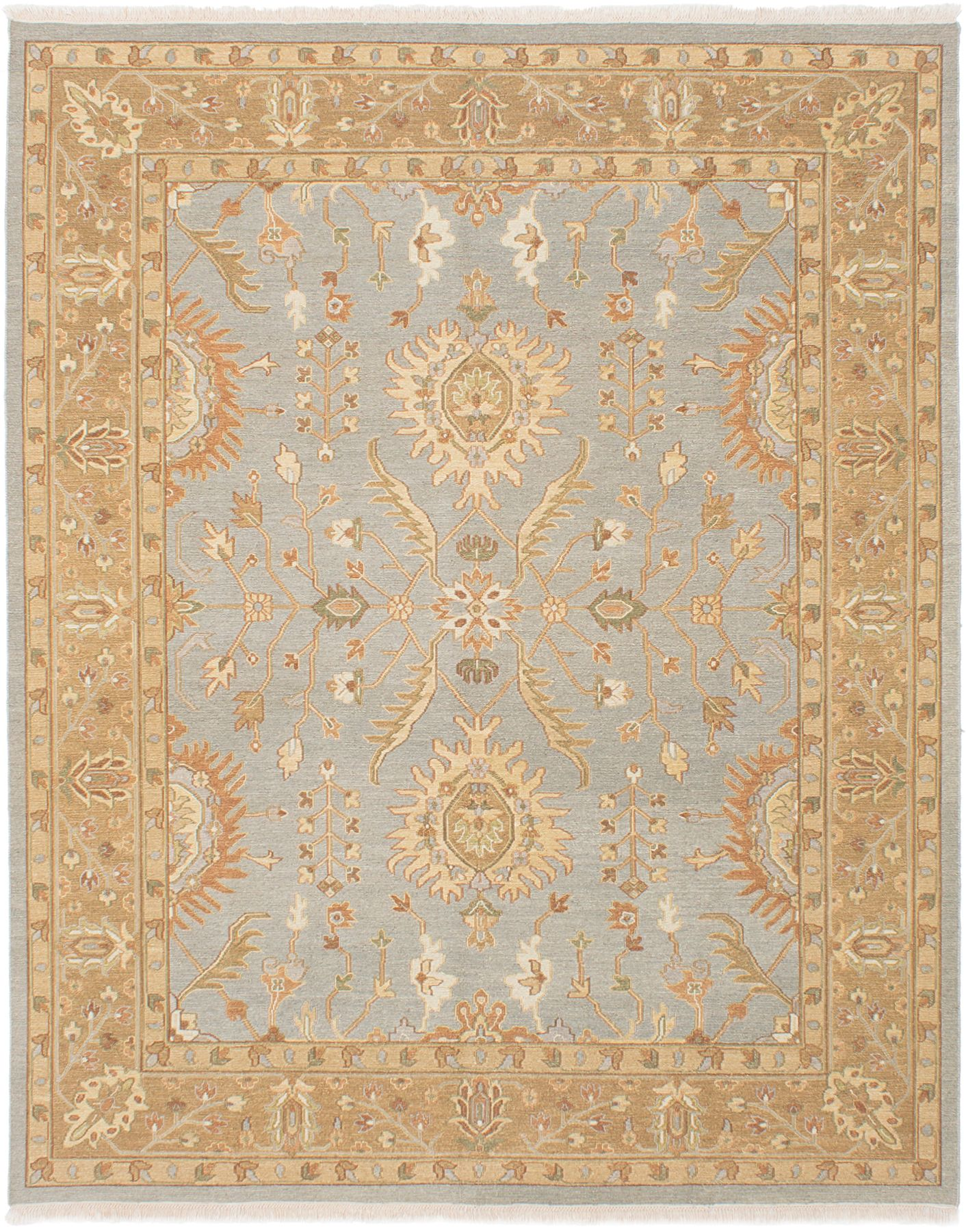 """Hand woven Lahor Finest Light Denim Blue Wool Tapestry Kilim 7'10"""" x 9'10"""" Size: 7'10"""" x 9'10"""""""