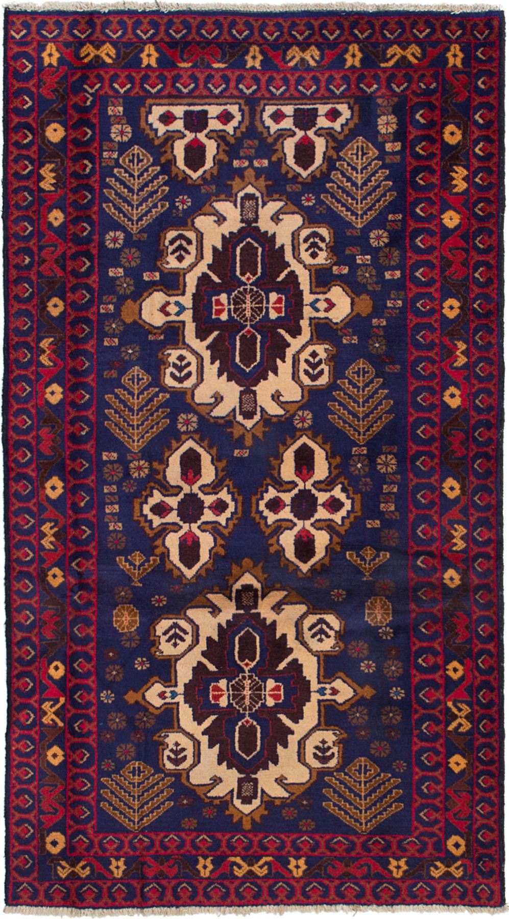 "Hand-knotted Kazak Navy Blue Wool Rug 3'5"" x 6'4"" Size: 3'5"" x 6'4"""