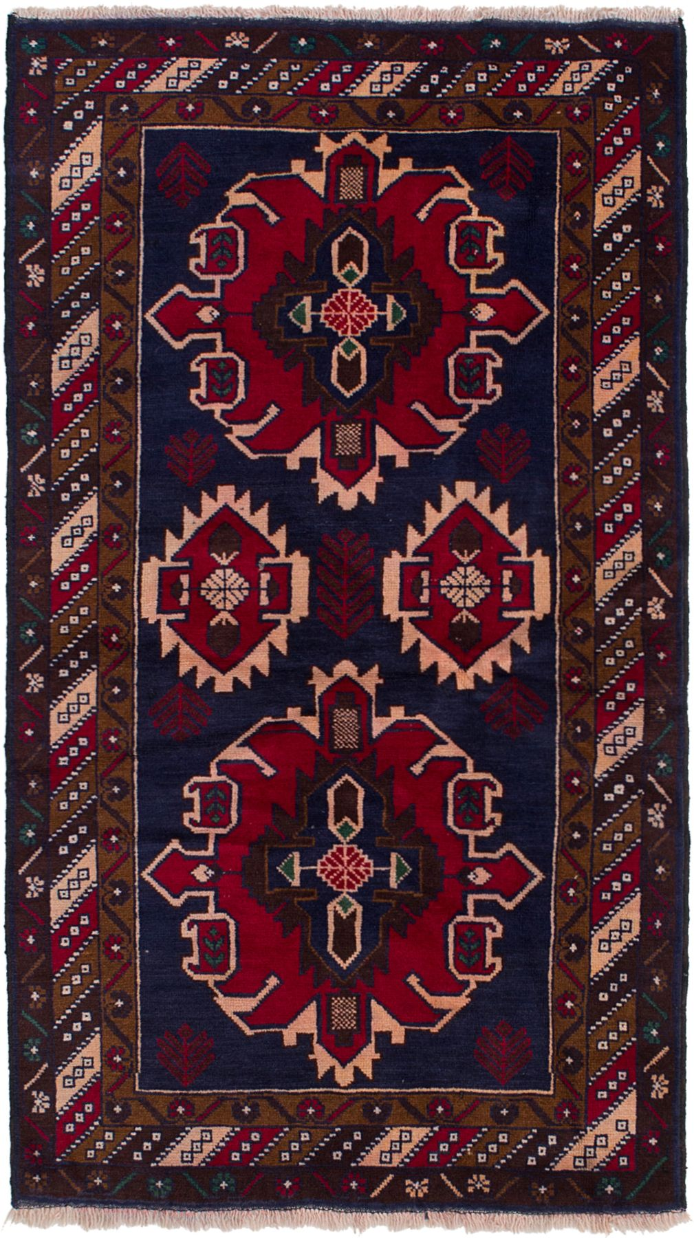 """Hand-knotted Rizbaft Navy Blue, Red Wool Rug 3'5"""" x 6'5"""" Size: 3'5"""" x 6'5"""""""