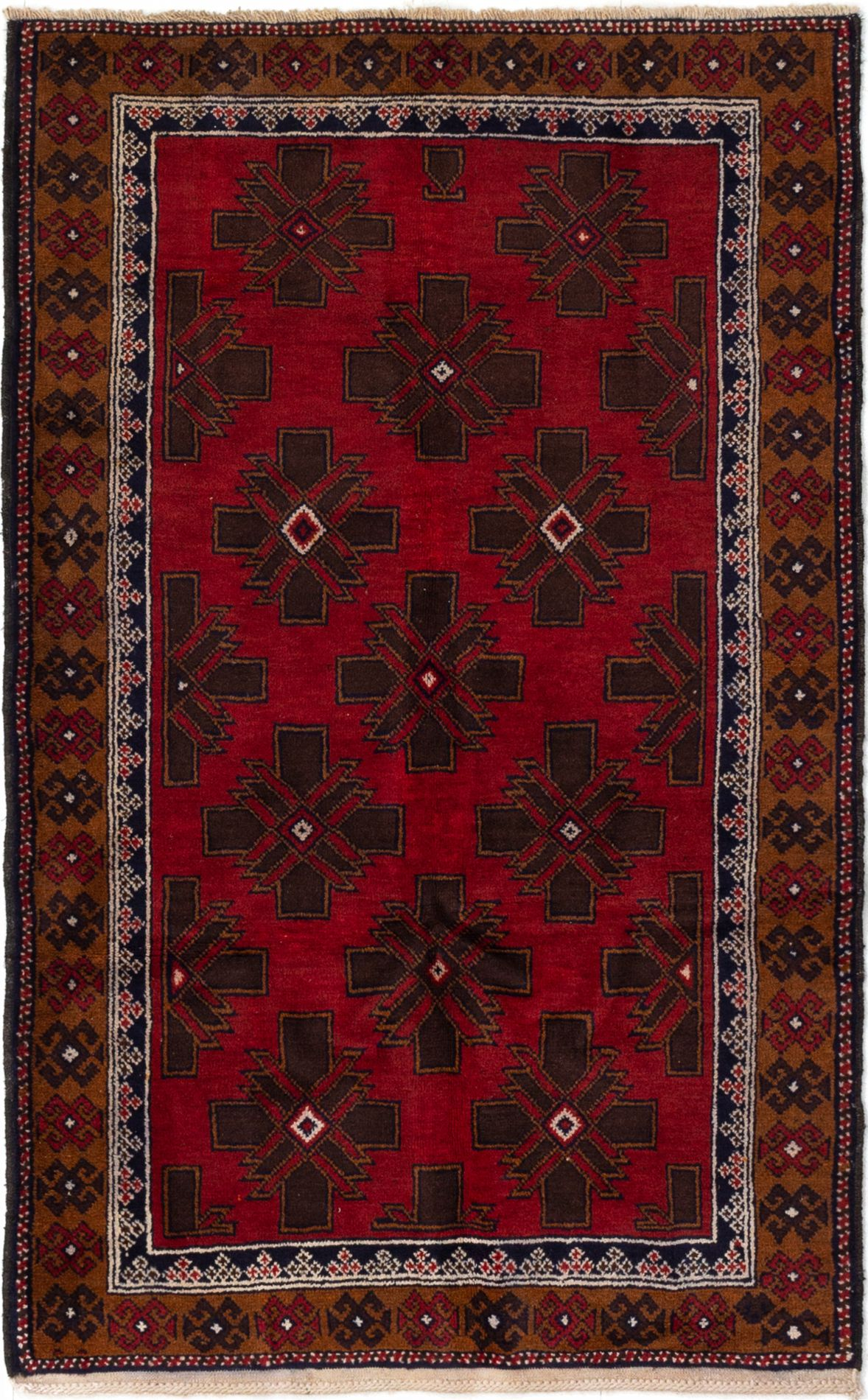 """Hand-knotted Teimani Red Wool Rug 3'8"""" x 5'11"""" Size: 3'8"""" x 5'11"""""""