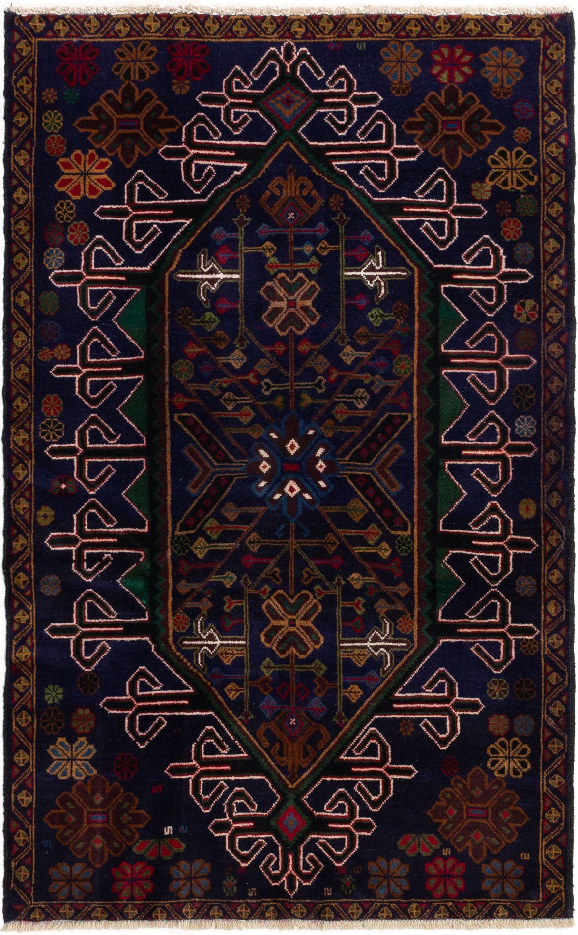 """Hand-knotted Kazak Dark Blue Wool Rug 3'10"""" x 6'2"""" Size: 3'10"""" x 6'2"""""""