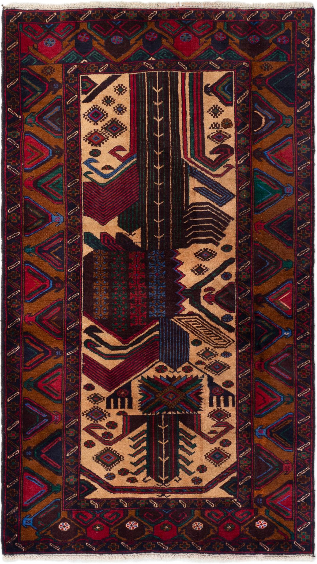"""Hand-knotted Rizbaft Dark Red, Ivory Wool Rug 3'8"""" x 6'6"""" Size: 3'8"""" x 6'6"""""""