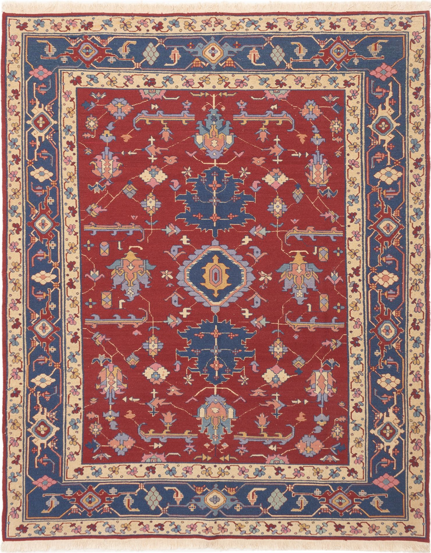 """Hand woven Dynasty Dark Red Wool Tapestry Kilim 8'0"""" x 10'0"""" Size: 8'0"""" x 10'0"""""""