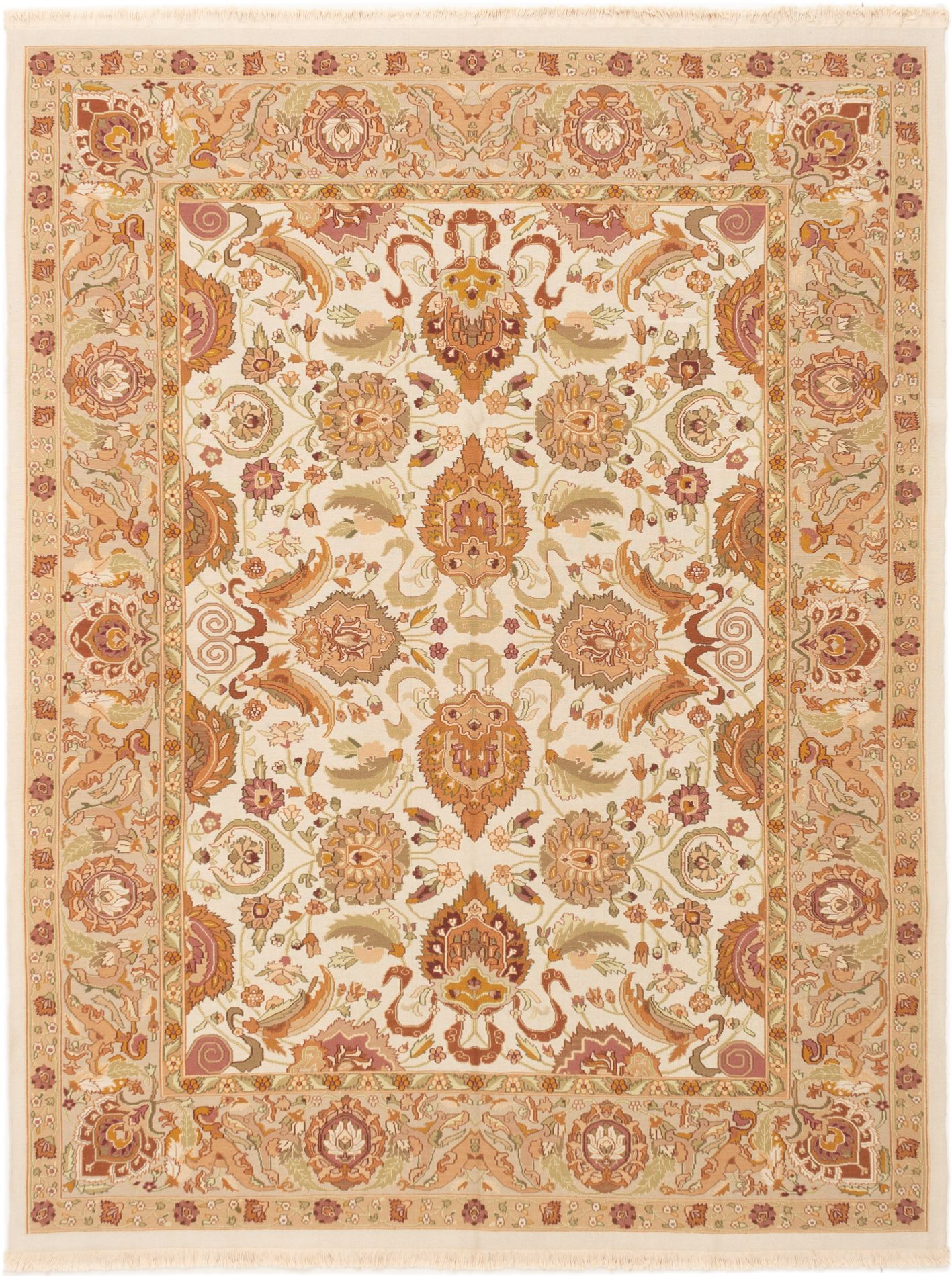 "Hand woven Dynasty Cream Wool Tapestry Kilim 7'9"" x 10'0"" Size: 7'9"" x 10'0"""