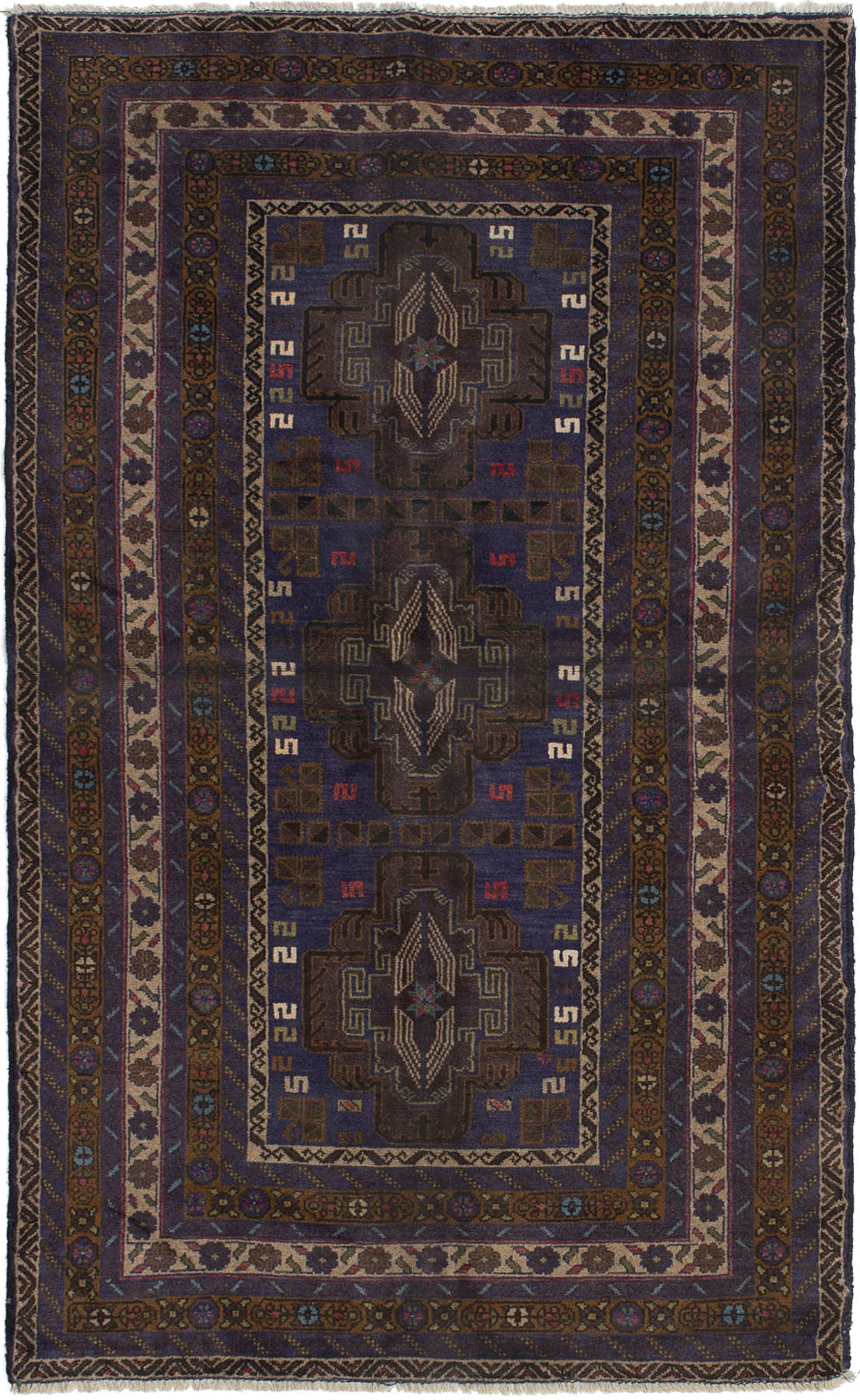 """Hand-knotted Finest Rizbaft Brown, Navy Blue Wool Rug 3'7"""" x 6'1"""" Size: 3'7"""" x 6'1"""""""
