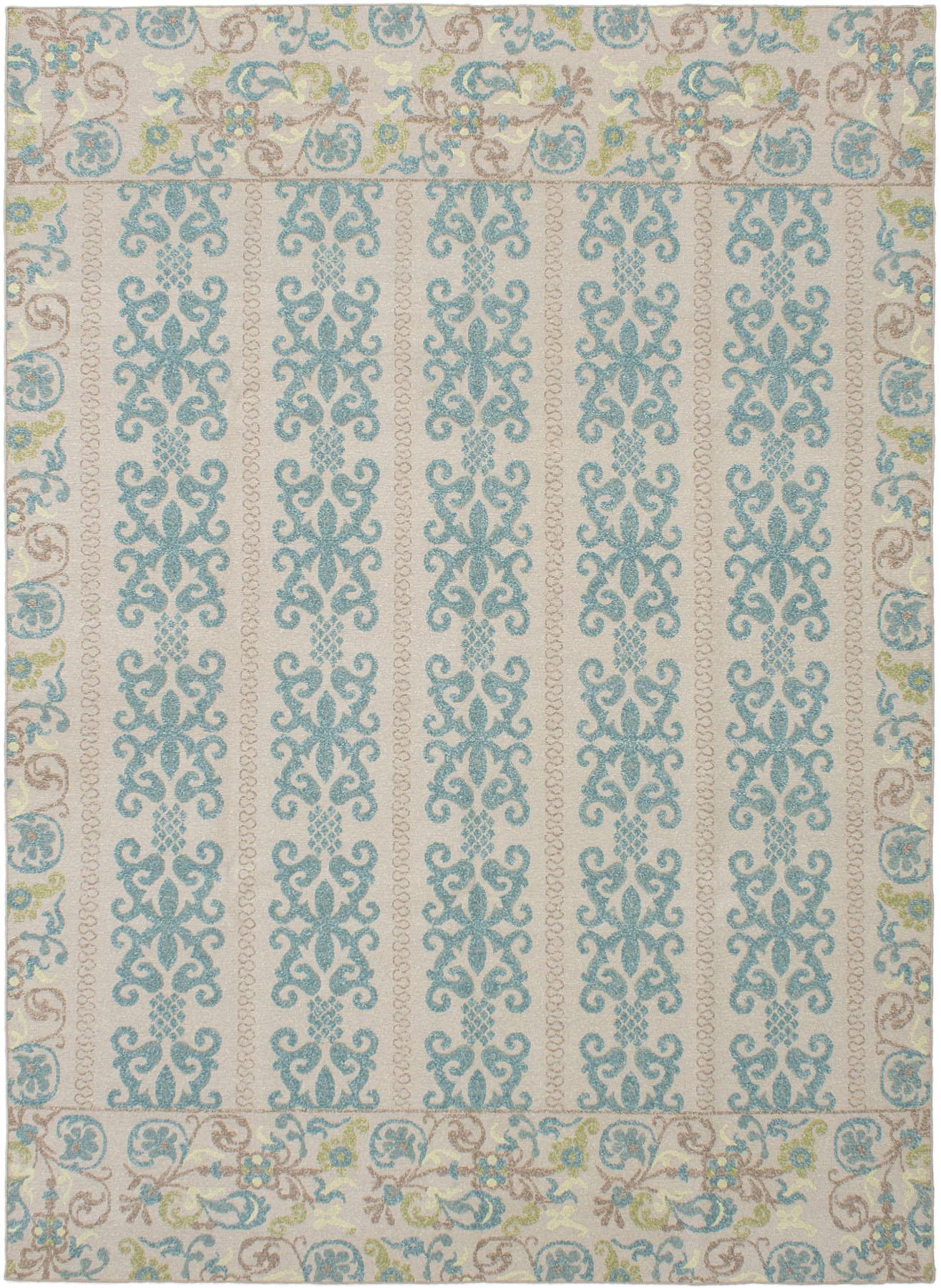 """Hand woven Tamar I Teal Wool Tapestry Kilim 8'6"""" x 11'6"""" Size: 8'6"""" x 11'6"""""""