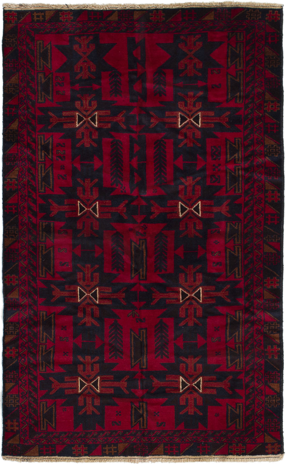 """Hand-knotted Kazak Red Wool Rug 3'7"""" x 6'1"""" (33) Size: 3'7"""" x 6'1"""""""