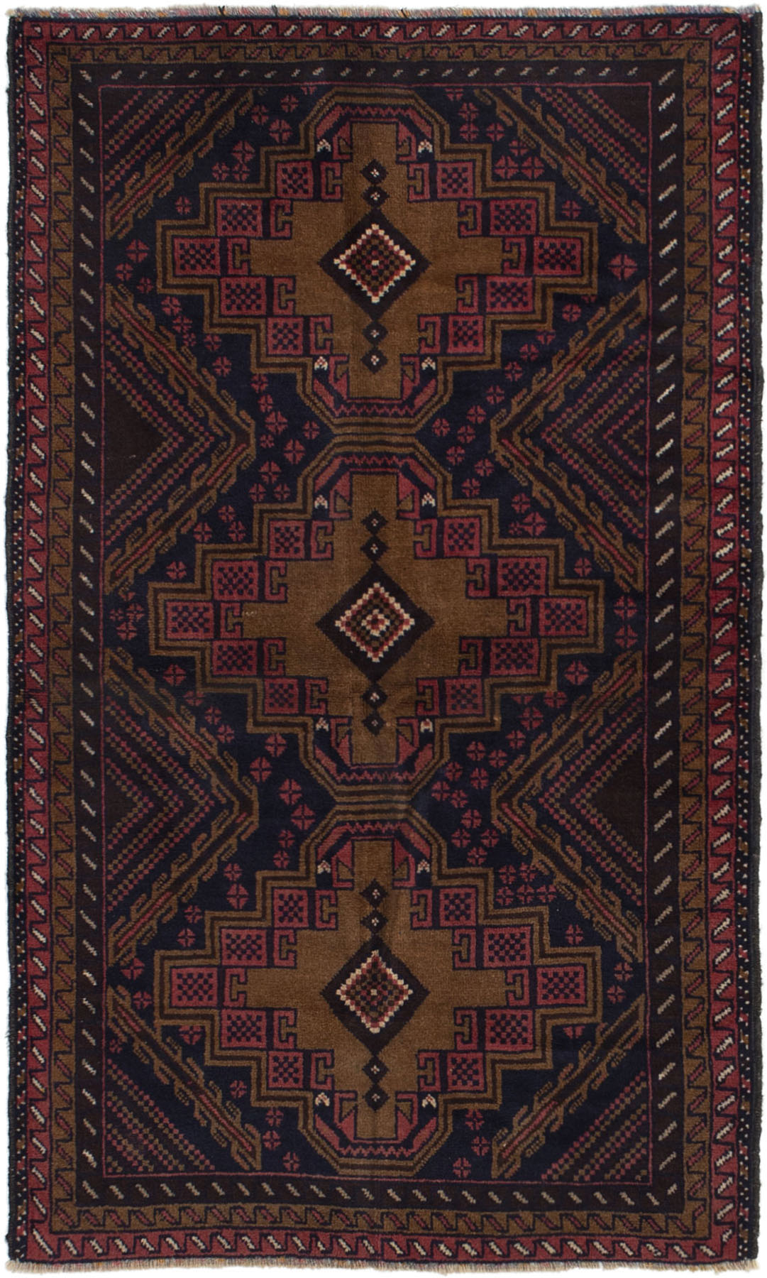 """Hand-knotted Finest Rizbaft Light Brown, Navy Blue Wool Rug 3'5"""" x 5'11"""" Size: 3'5"""" x 5'11"""""""