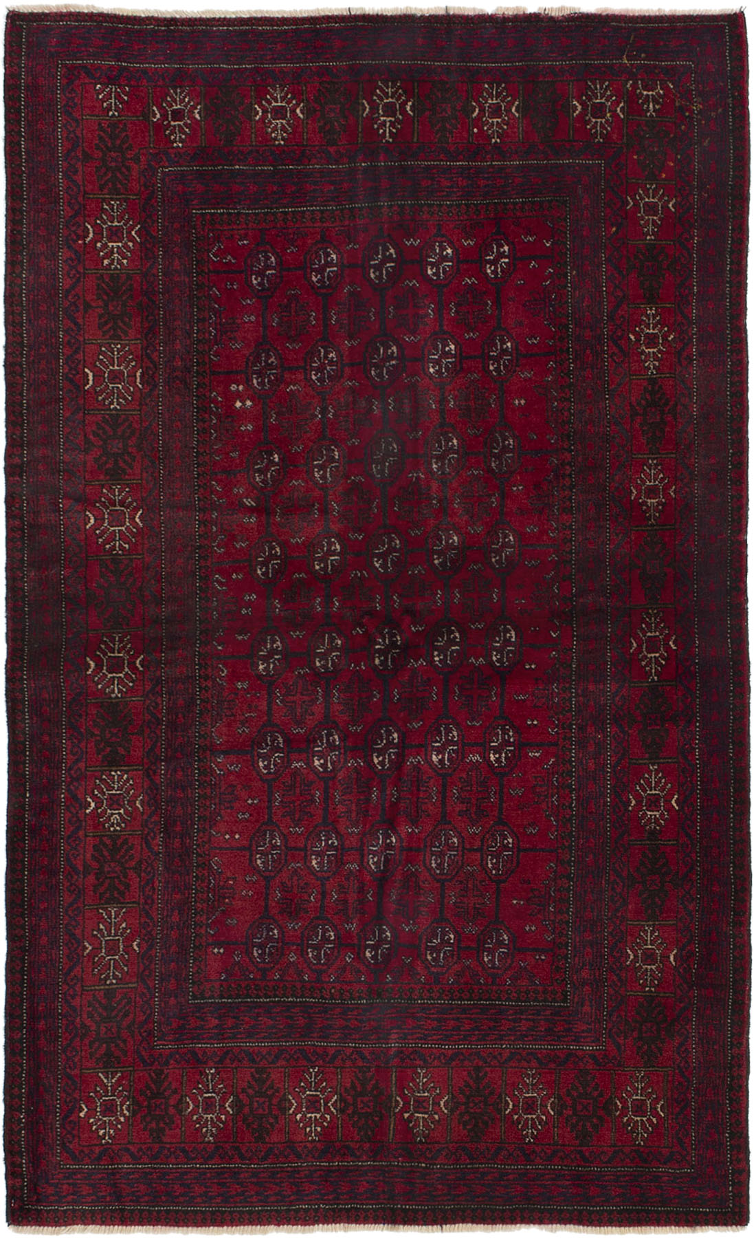"""Hand-knotted Rizbaft Red Wool Rug 3'10"""" x 6'3"""" Size: 3'10"""" x 6'3"""""""