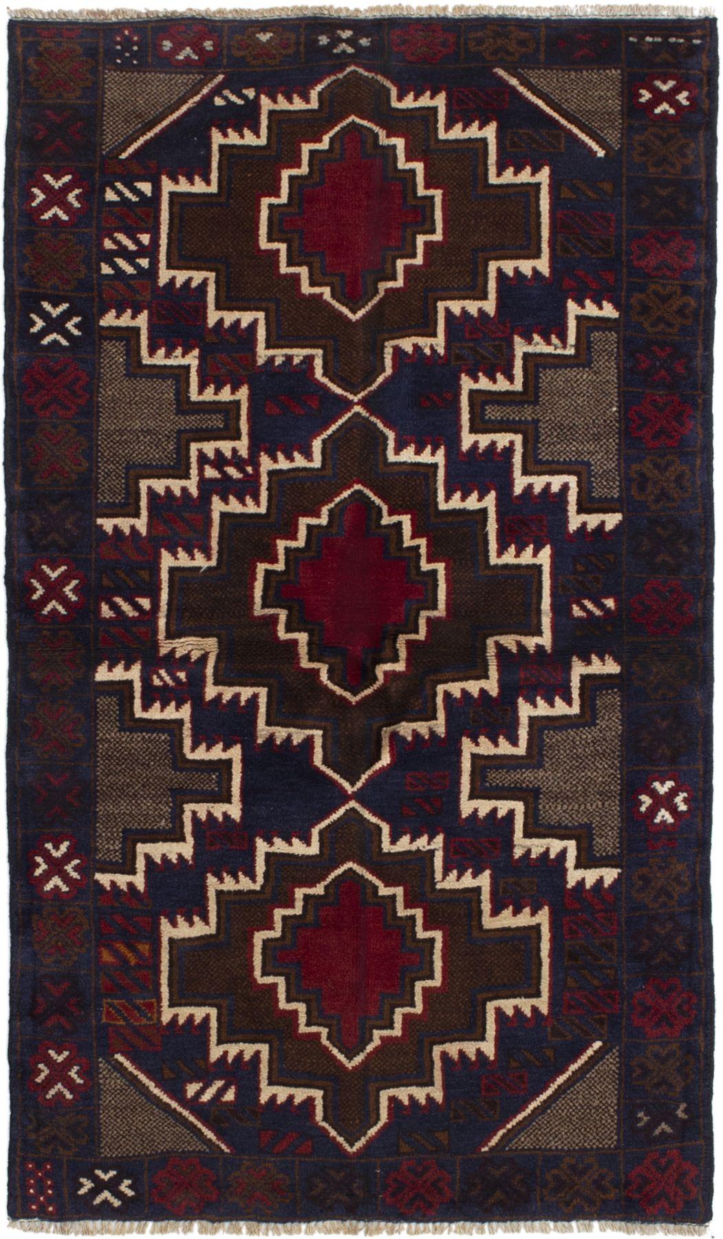 """Hand-knotted Kazak Brown, Dark Blue Wool Rug 3'3"""" x 5'11"""" Size: 3'3"""" x 5'11"""""""