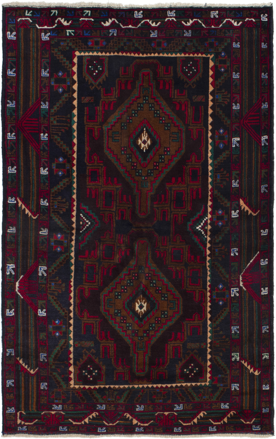 """Hand-knotted Finest Rizbaft Navy Blue, Red Wool Rug 3'5"""" x 5'8"""" Size: 3'5"""" x 5'8"""""""