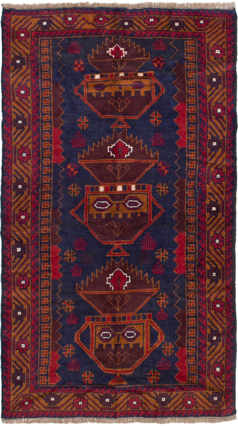 "Hand-knotted Teimani Dark Blue Wool Rug 3'3"" x 6'0"" Size: 3'3"" x 6'0"""