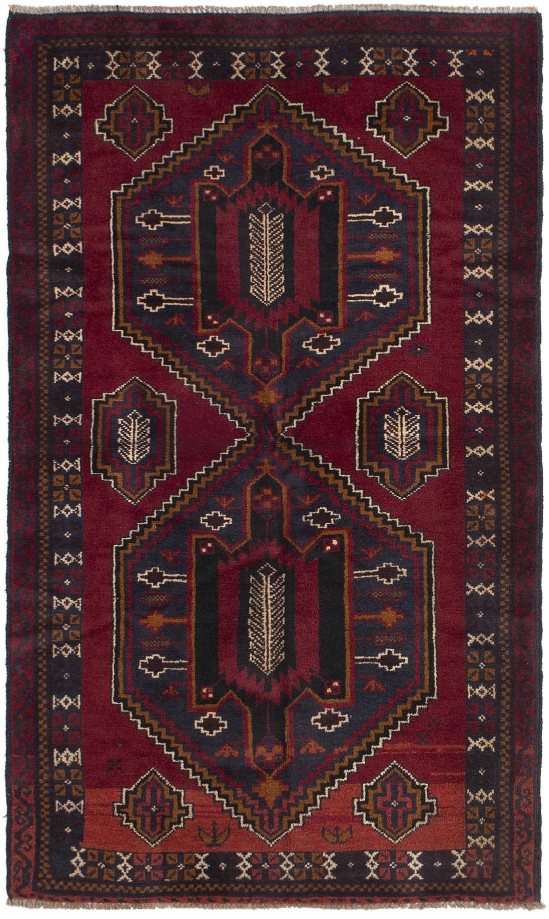 """Hand-knotted Kazak Dark Red Wool Rug 3'7"""" x 6'3""""  Size: 3'7"""" x 6'3"""""""