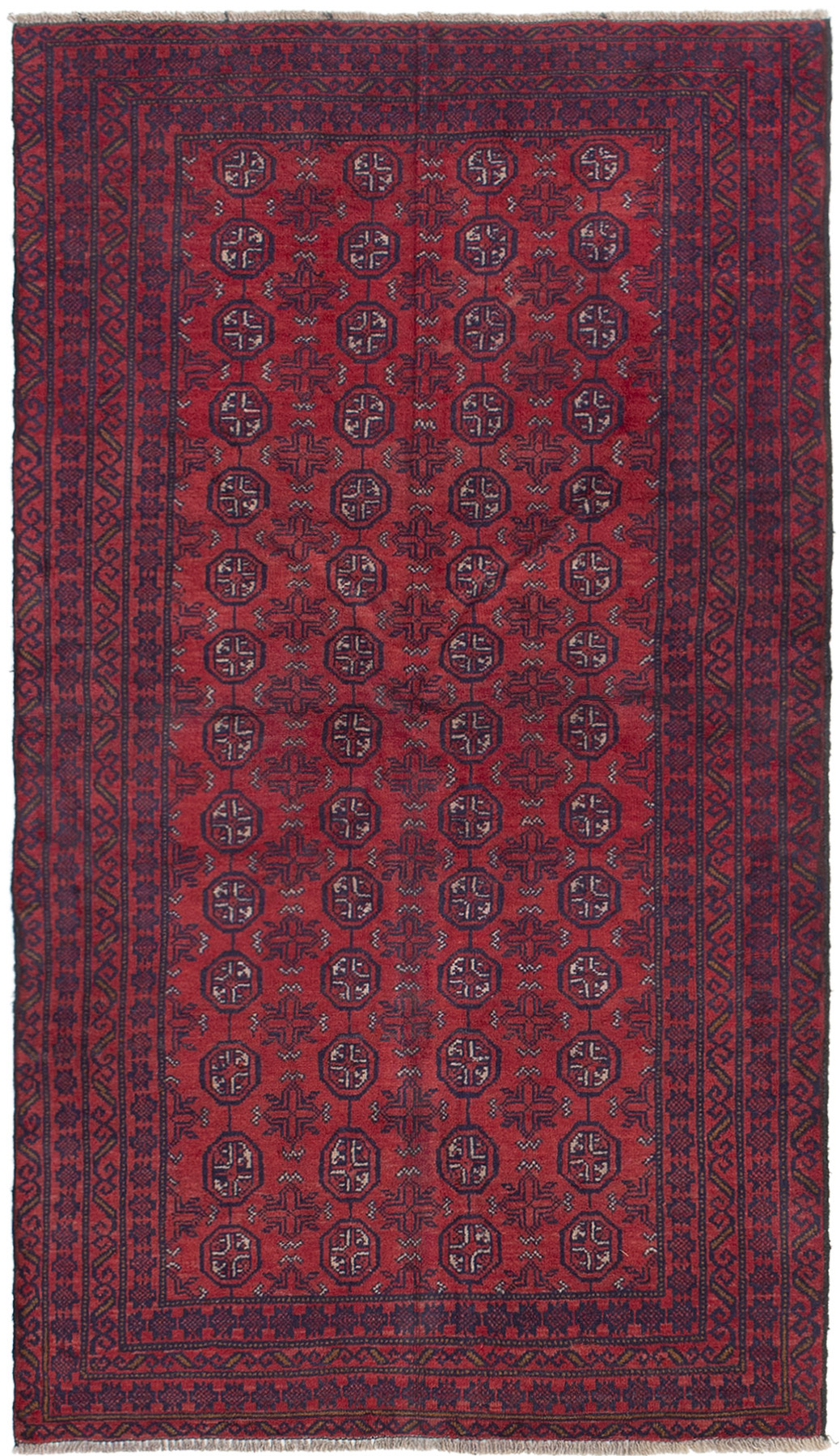 """Hand-knotted Rizbaft Red Wool Rug 3'5"""" x 6'2""""  Size: 3'5"""" x 6'2"""""""