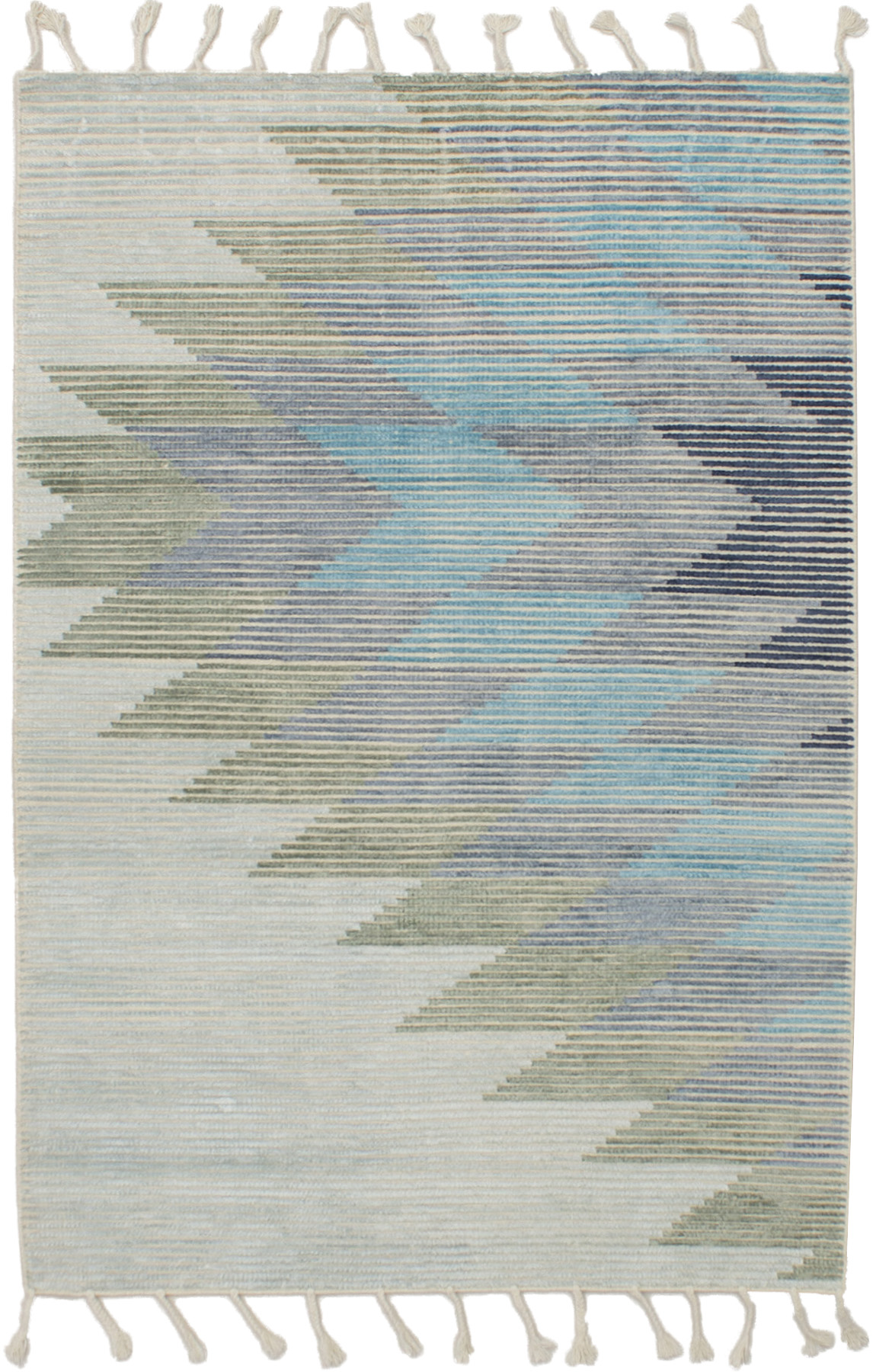 "Hand woven Kalista Grey, Light Blue  Wool/Silk Kilim 4'11"" x 7'10"" Size: 4'11"" x 7'10"""