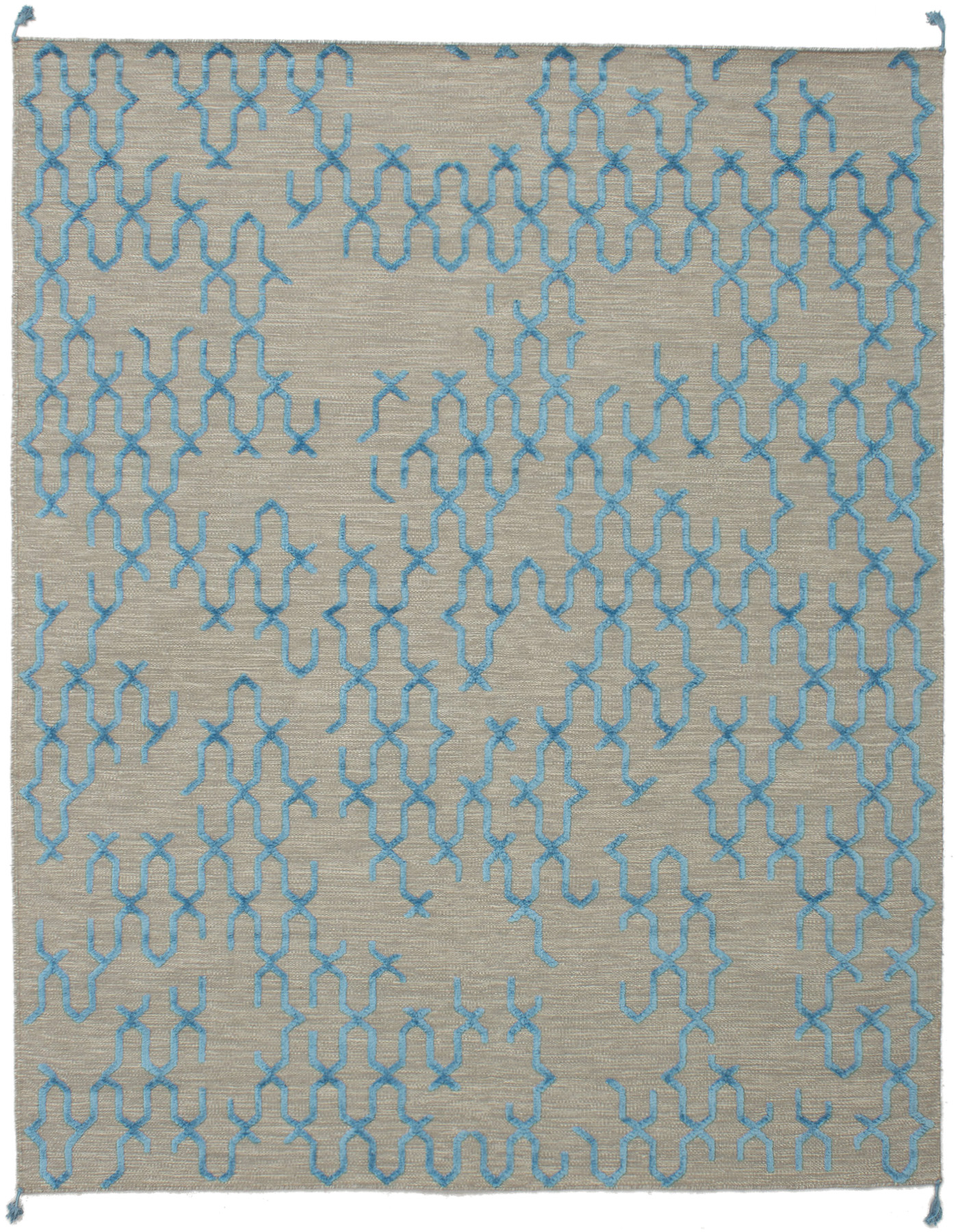 "Hand woven Kalista Light Khaki, Sky Blue Wool/Silk Kilim 7'10"" x 9'10"" Size: 7'10"" x 9'10"""