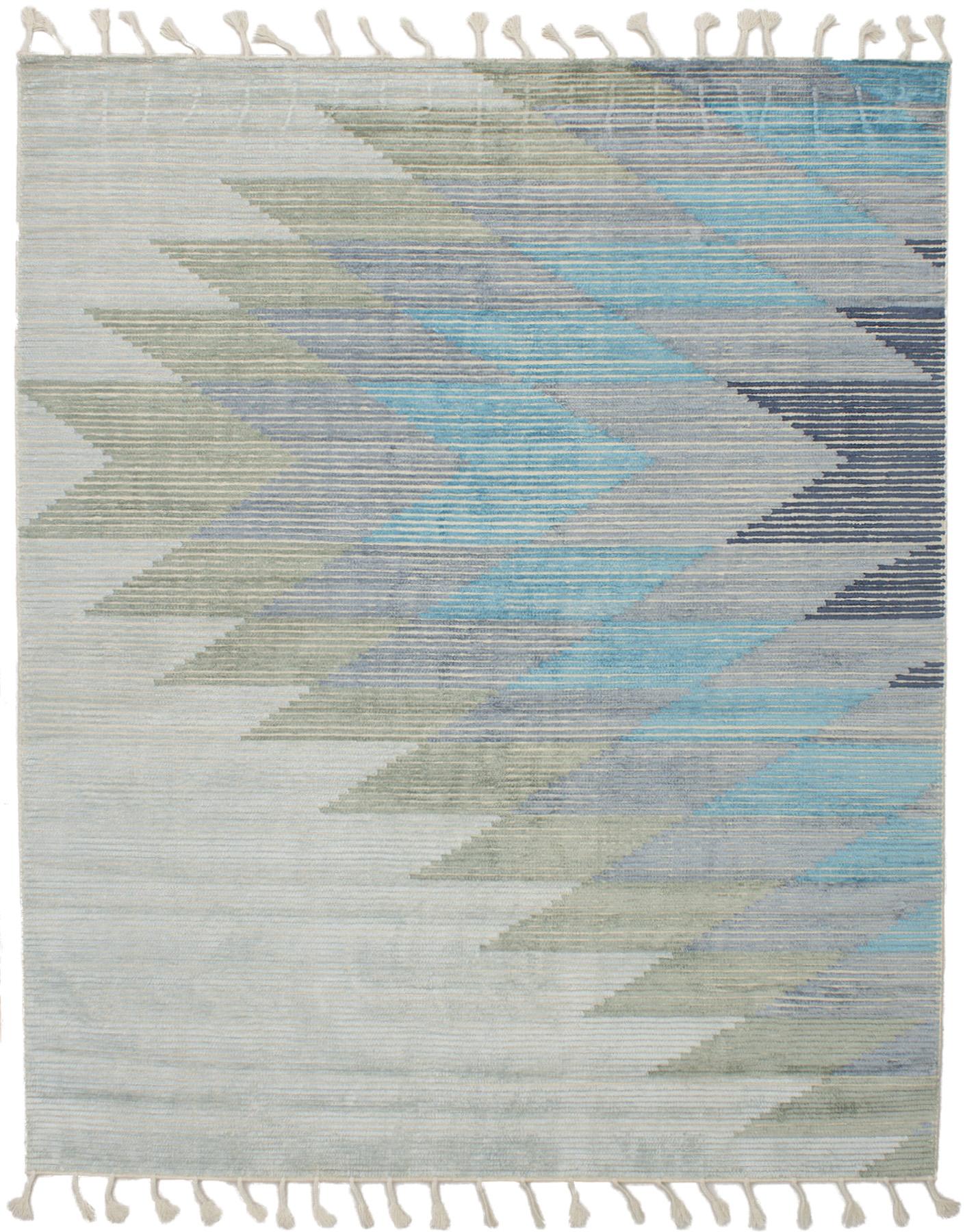 "Hand woven Kalista Grey, Light Blue  Wool/Silk Kilim 7'10"" x 9'10"" Size: 7'10"" x 9'10"""