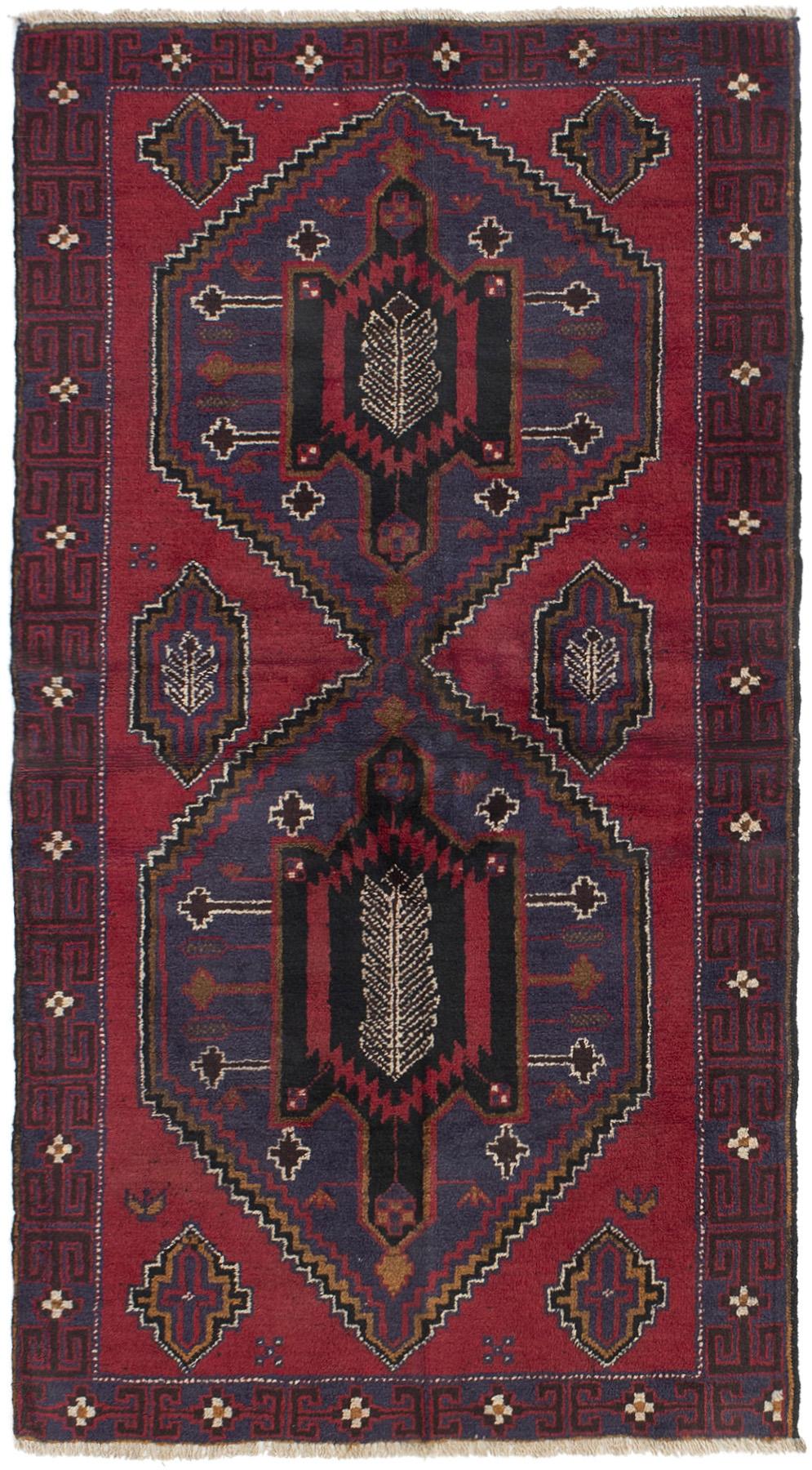"""Hand-knotted Kazak Dark Blue, Dark Copper Wool Rug 3'3"""" x 6'2"""" Size: 3'3"""" x 6'2"""""""