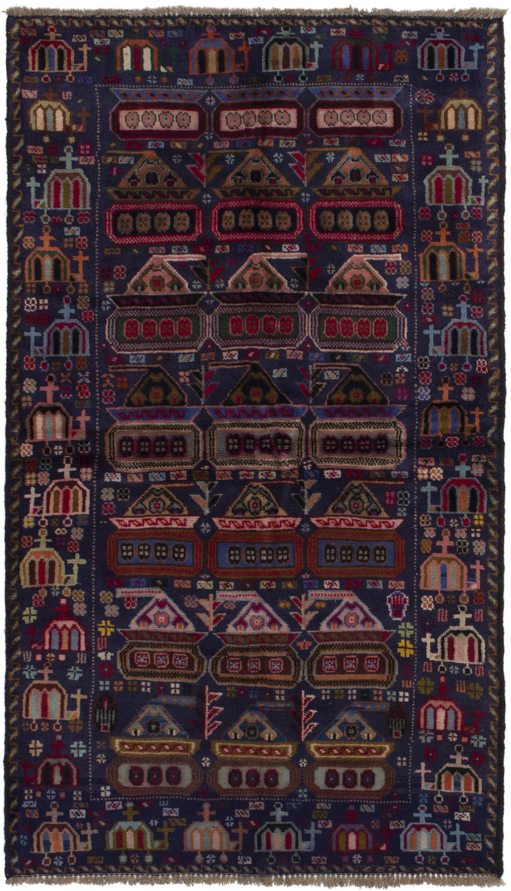 """Hand-knotted Rare War Navy Blue Wool Rug 3'7"""" x 6'5"""" Size: 3'7"""" x 6'5"""""""