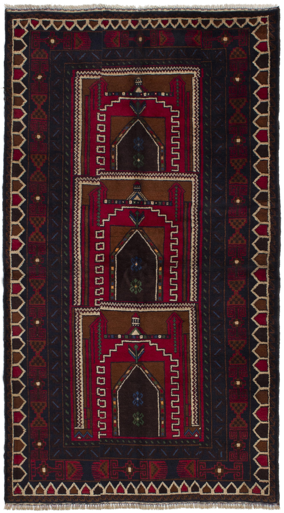 """Hand-knotted Finest Rizbaft Red Wool Rug 3'3"""" x 6'4"""" Size: 3'3"""" x 6'4"""""""