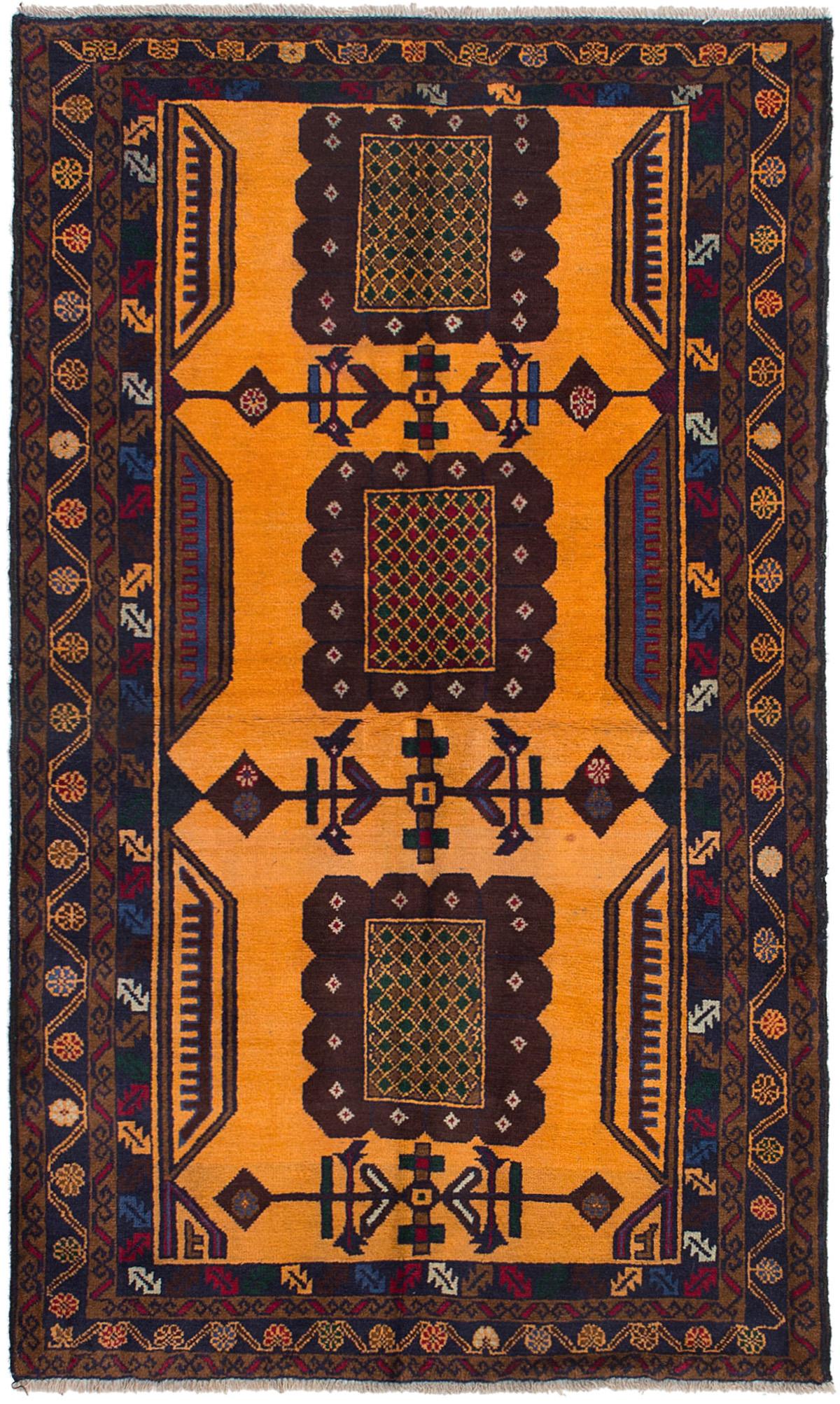 "Hand-knotted Teimani Light Orange Wool Rug 3'3"" x 5'11"" Size: 3'3"" x 5'11"""