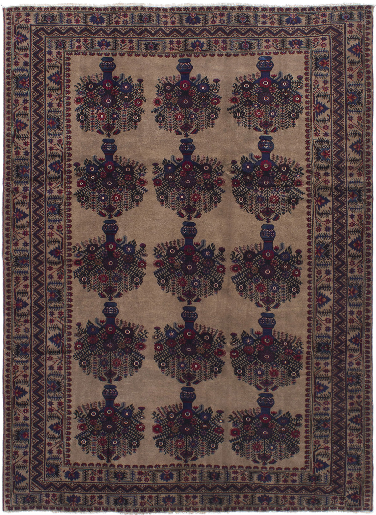 "Hand-knotted Finest Rizbaft Tan Wool Rug 7'0"" x 9'9"" Size: 7'0"" x 9'9"""