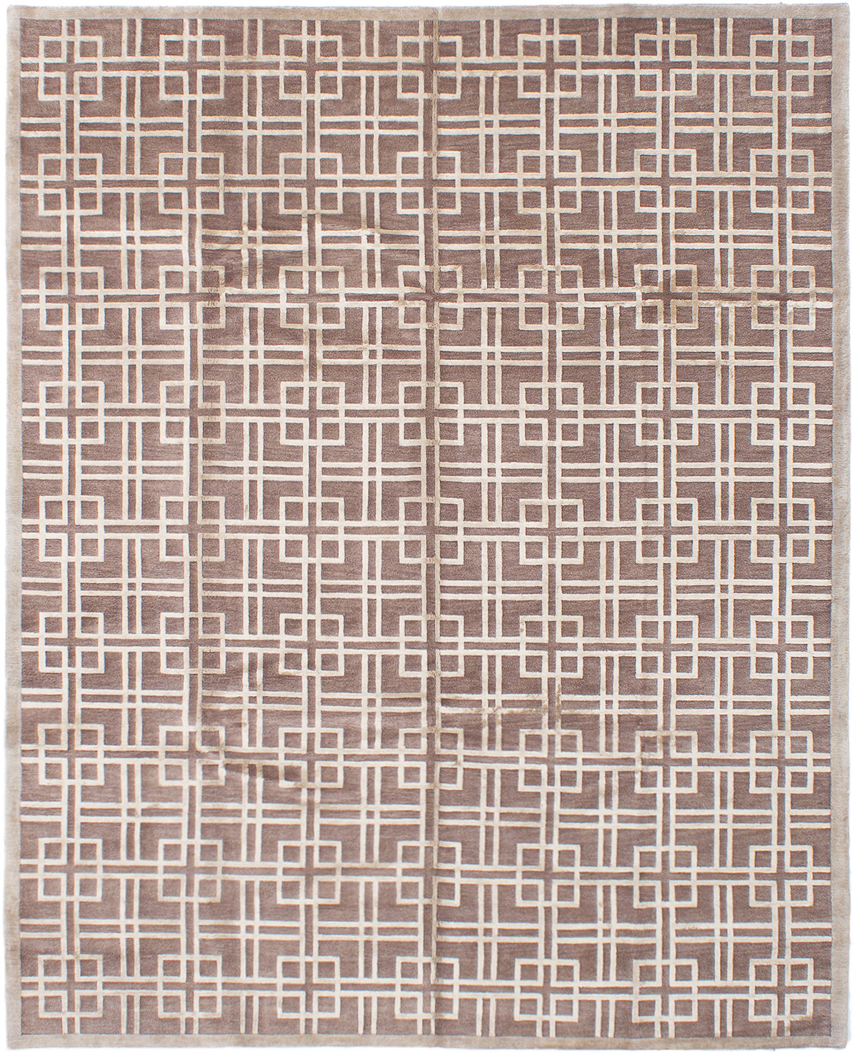 """Hand-knotted Silk Touch Brown Wool/Silk Rug 7'6"""" x 9'9"""" Size: 7'6"""" x 9'9"""""""
