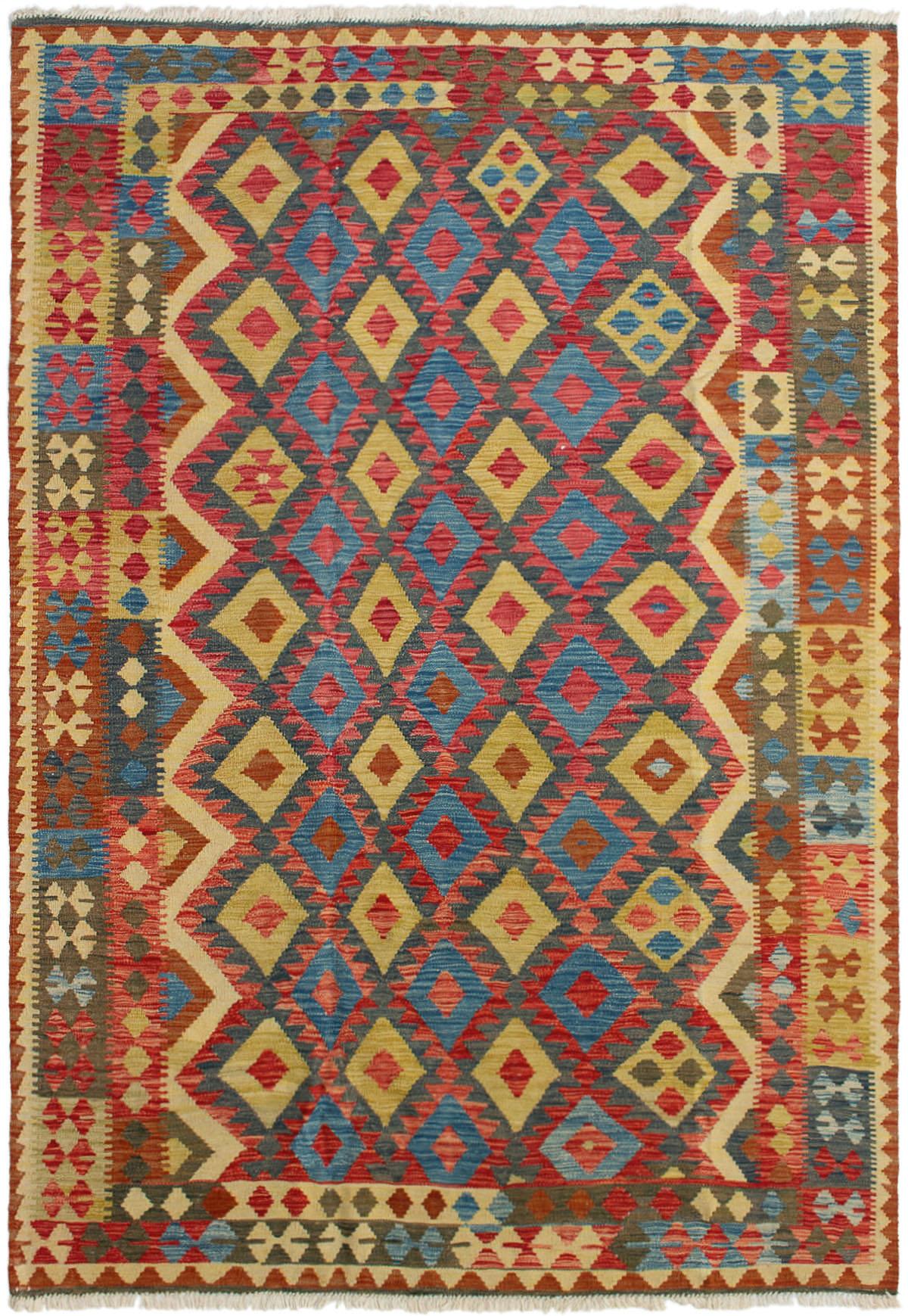 "Hand woven Hereke FW Light Brown, Slate Blue, Tan Wool Kilim 6'6"" x 9'6"" Size: 6'6"" x 9'6"""