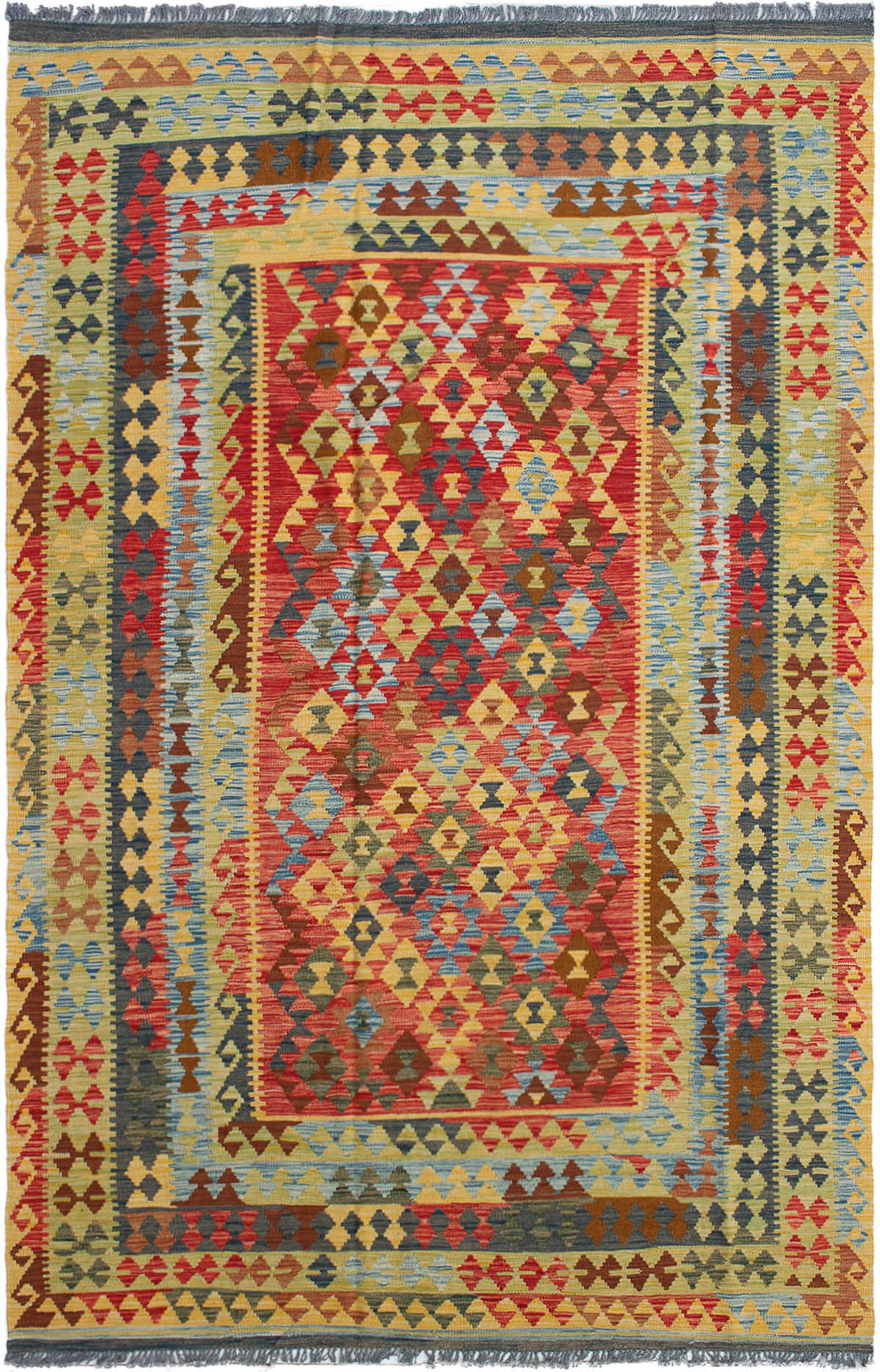 "Hand woven Hereke FW Red Wool  Kilim 6'3"" x 9'11"" Size: 6'3"" x 9'11"""
