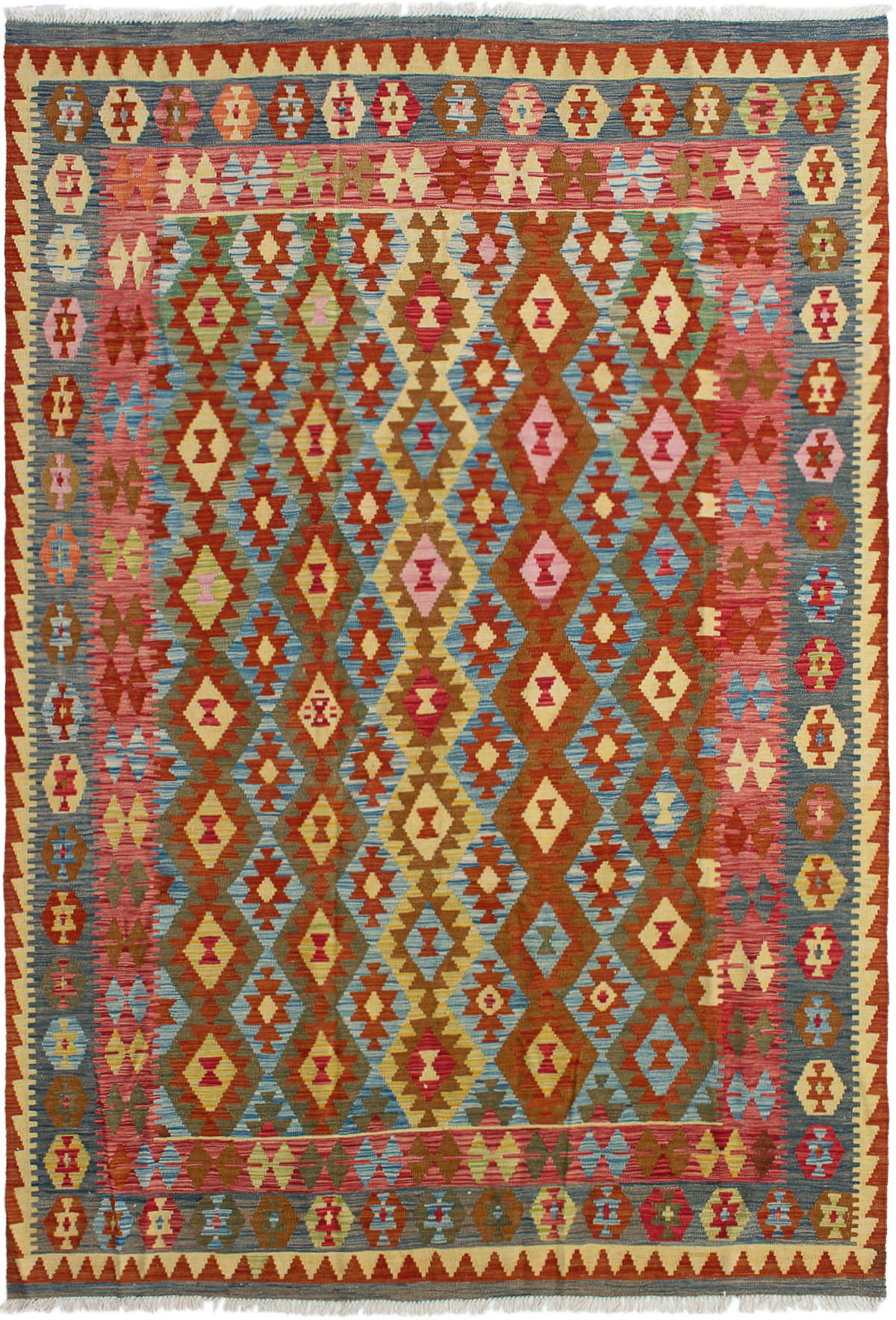 "Hand woven Hereke FW Dark Copper, Sky Blue Wool Kilim 6'7"" x 9'7"" Size: 6'7"" x 9'7"""