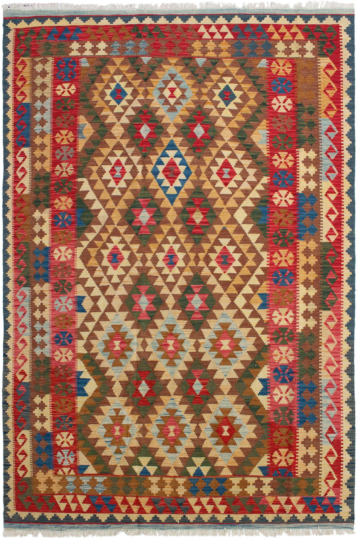"Hand woven Kashkoli FW Red Wool Kilim 6'3"" x 9'7"" Size: 6'3"" x 9'7"""