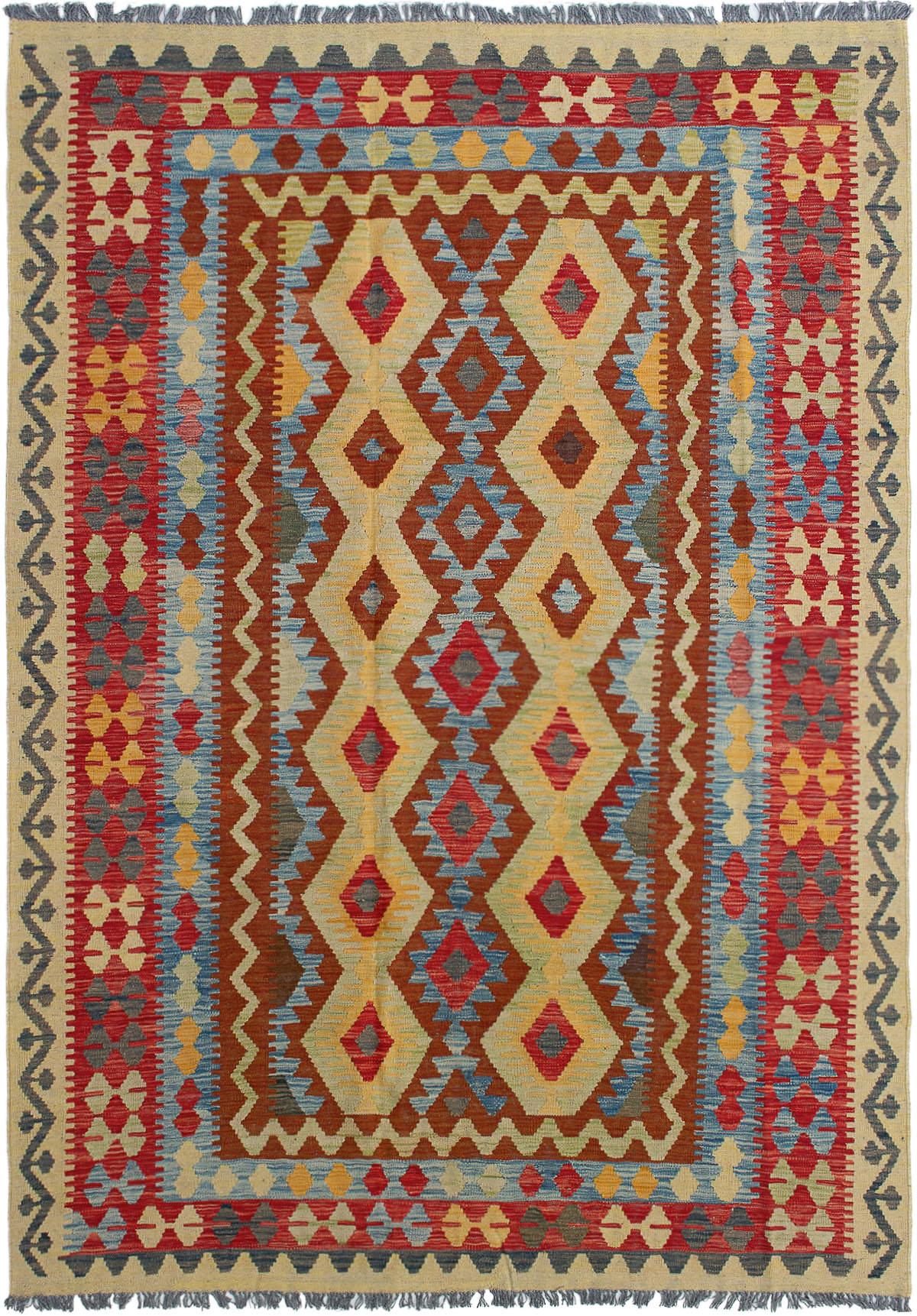 "Hand woven Kashkoli FW Red Wool Kilim 6'5"" x 9'7"" Size: 6'5"" x 9'7"""