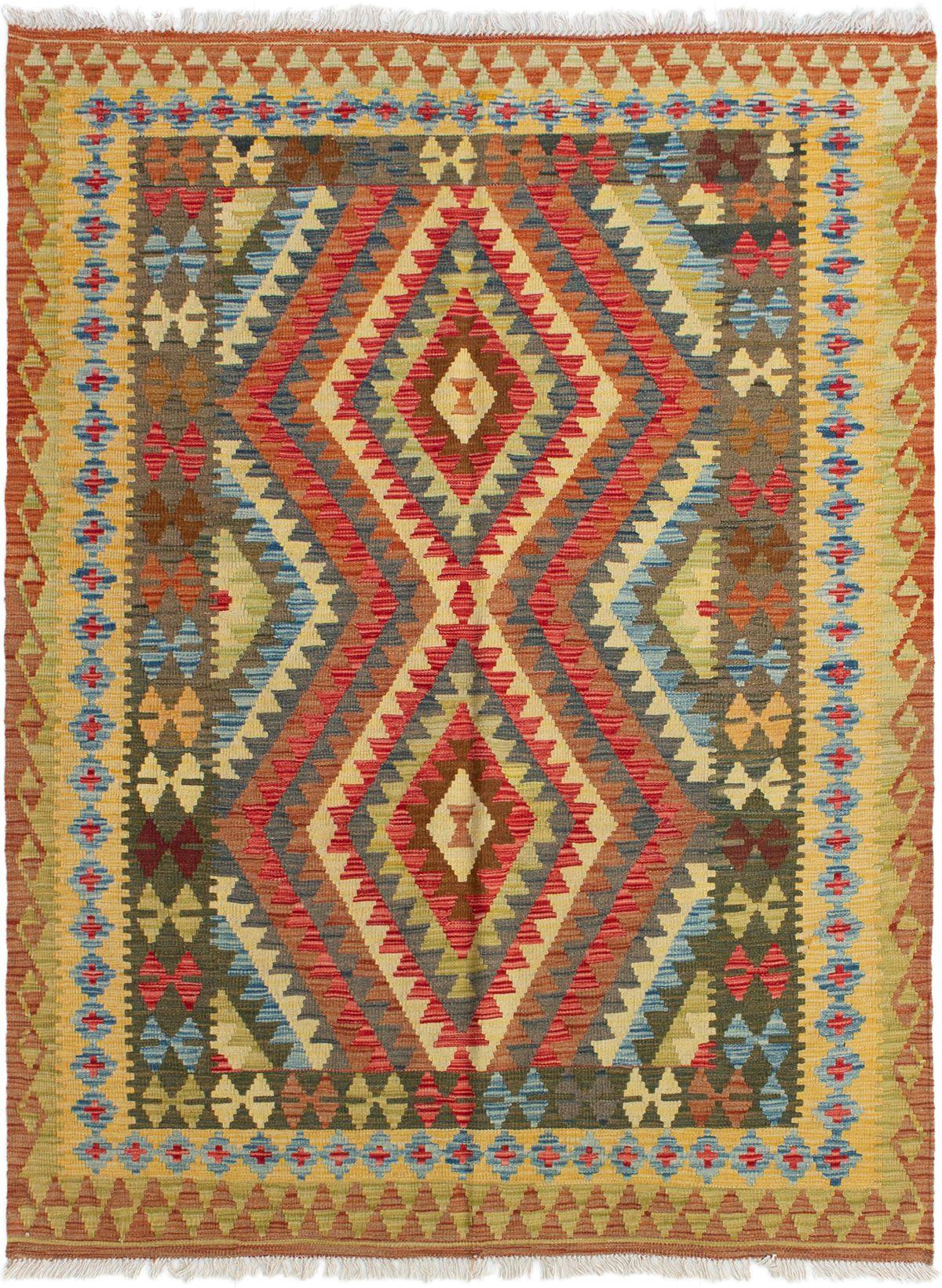 "Hand woven Kashkoli FW Red, Sky Blue Wool Kilim 5'1"" x 6'9"" Size: 5'1"" x 6'9"""