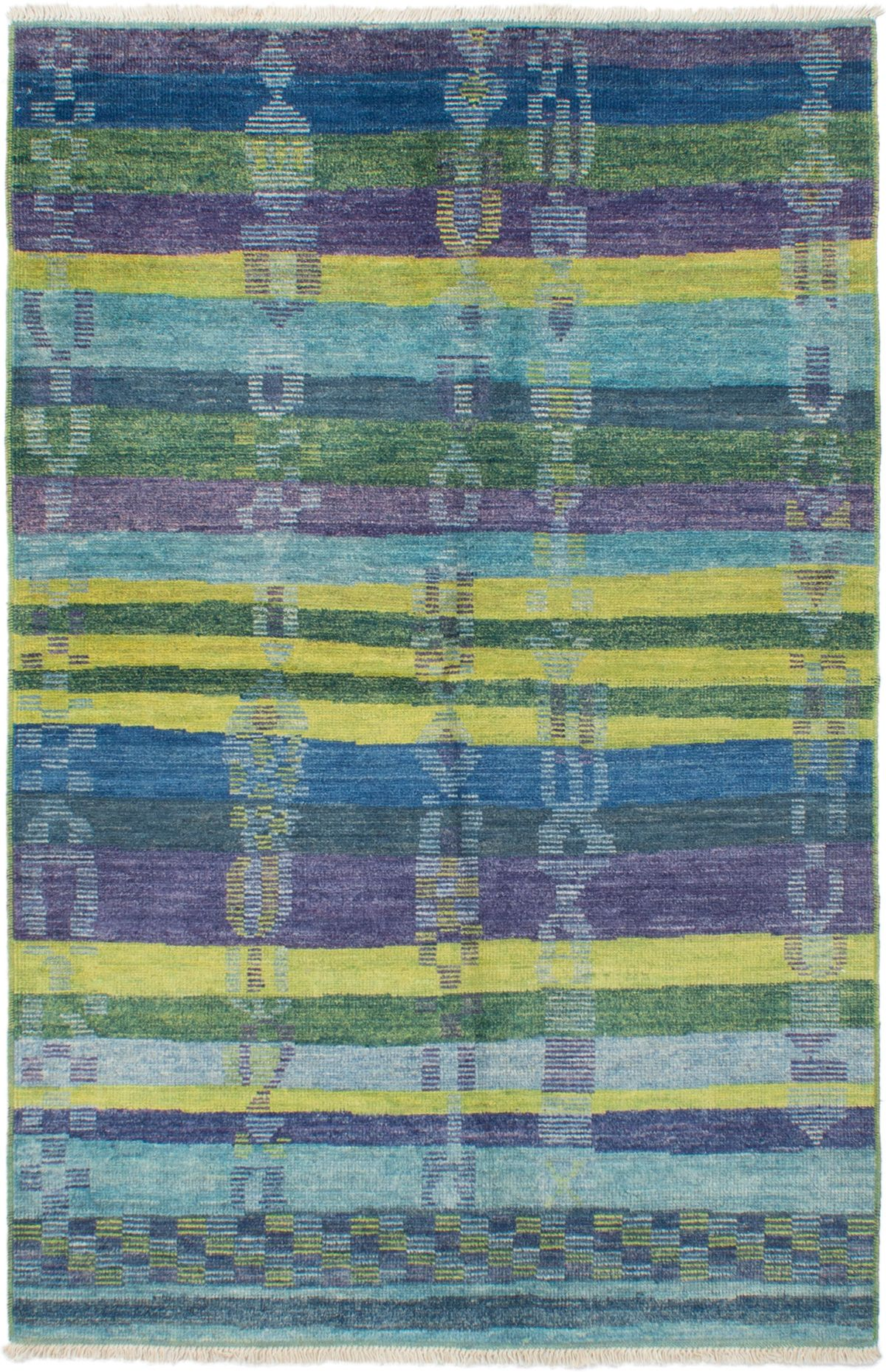 """Hand-knotted Shalimar Blue Wool Rug 5'2"""" x 8'0"""" Size: 5'2"""" x 8'0"""""""