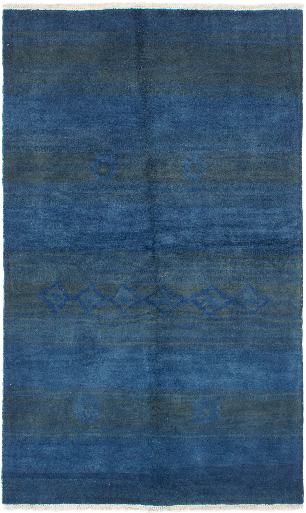 """Hand-knotted Vibrance Dark Blue Wool Rug 4'9"""" x 7'10"""" Size: 4'9"""" x 7'10"""""""