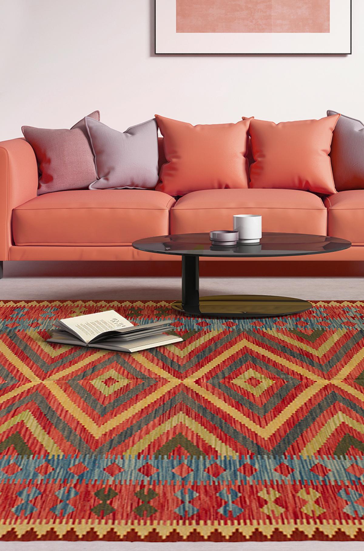 "Hand woven Hereke FW Dark Copper Wool Kilim 5'5"" x 8'3"" Size: 5'5"" x 8'3"""