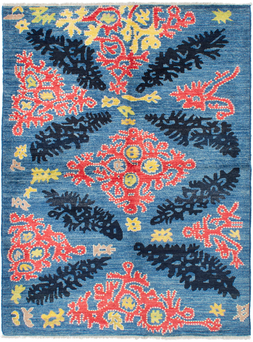 """Hand-knotted Shalimar Blue Wool Rug 6'9"""" x 8'10"""" Size: 6'9"""" x 8'10"""""""