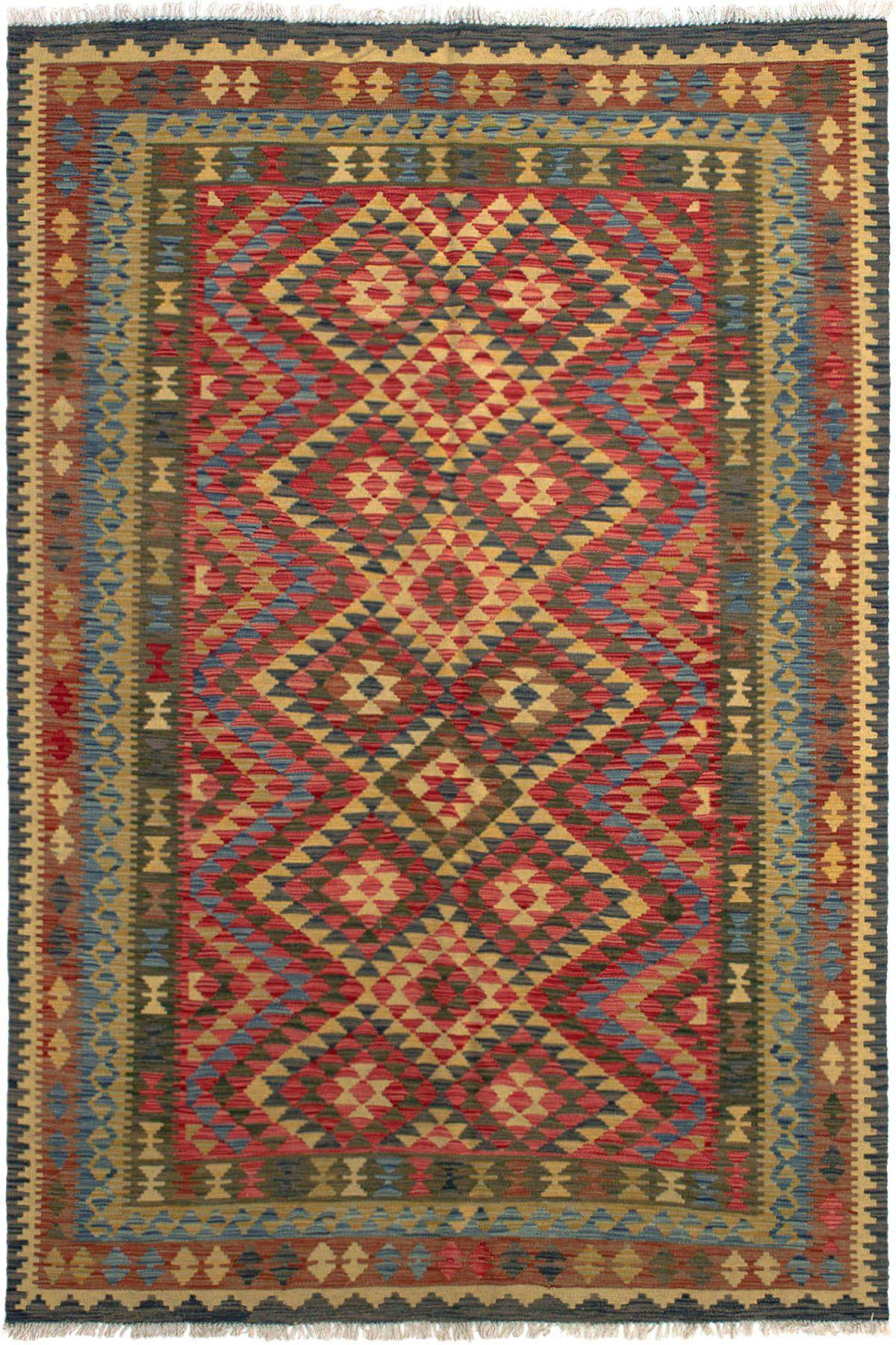 "Hand woven Kashkoli FW Red Wool Kilim 5'4"" x 8'2"" Size: 5'4"" x 8'2"""