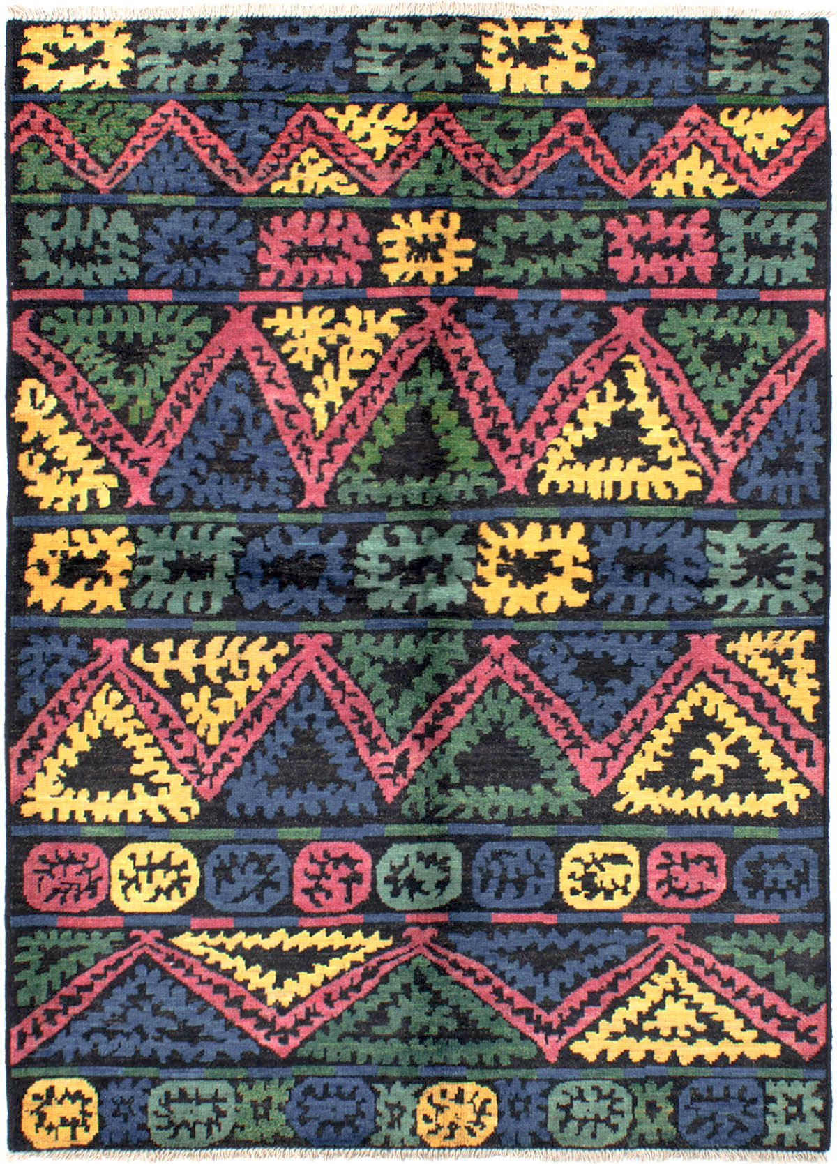 """Hand-knotted Shalimar Blue, Red Wool Rug 6'5"""" x 8'10"""" Size: 6'5"""" x 8'10"""""""