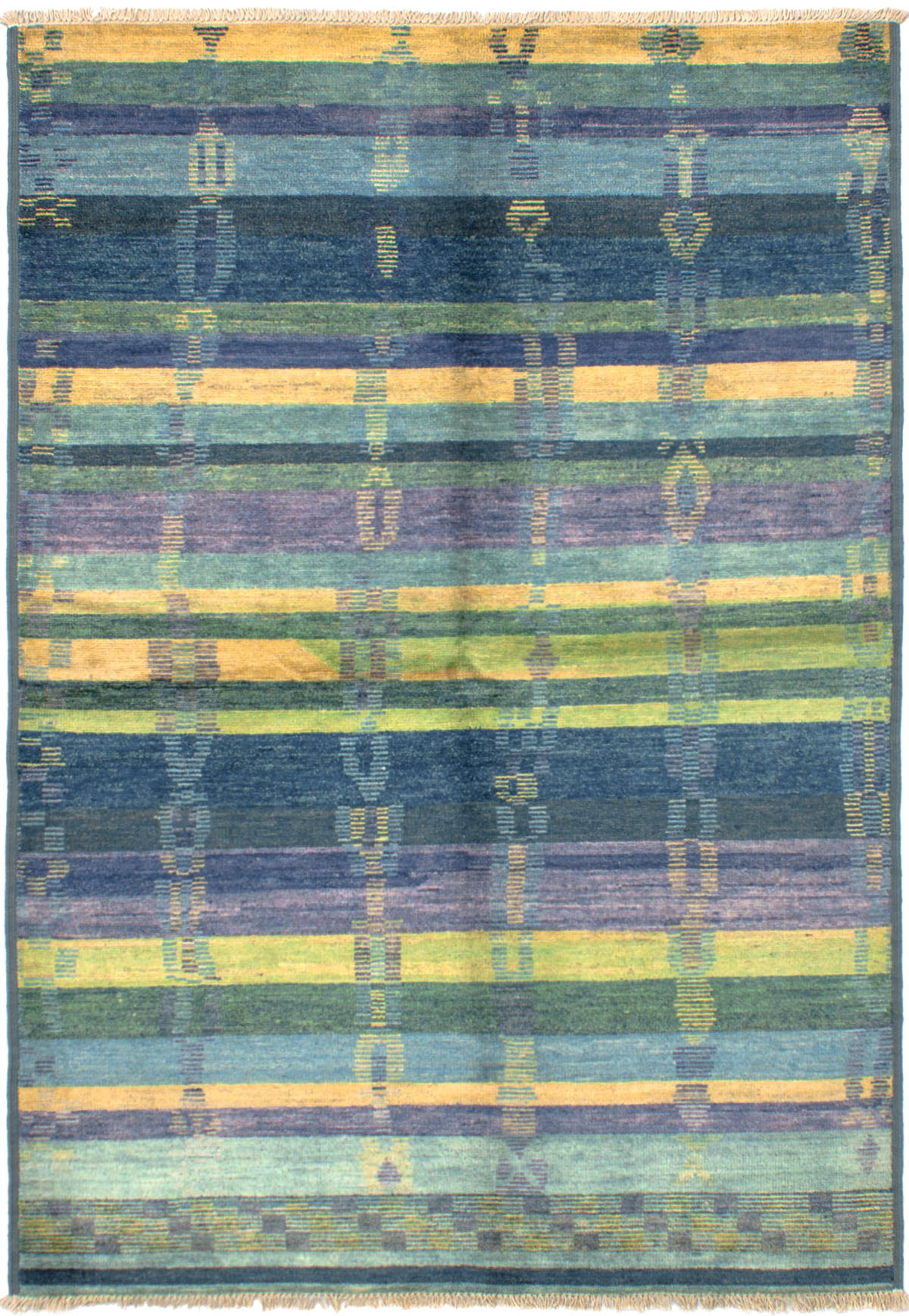 """Hand-knotted Shalimar Light Blue , Purple Wool Rug 6'0"""" x 8'9"""" Size: 6'0"""" x 8'9"""""""