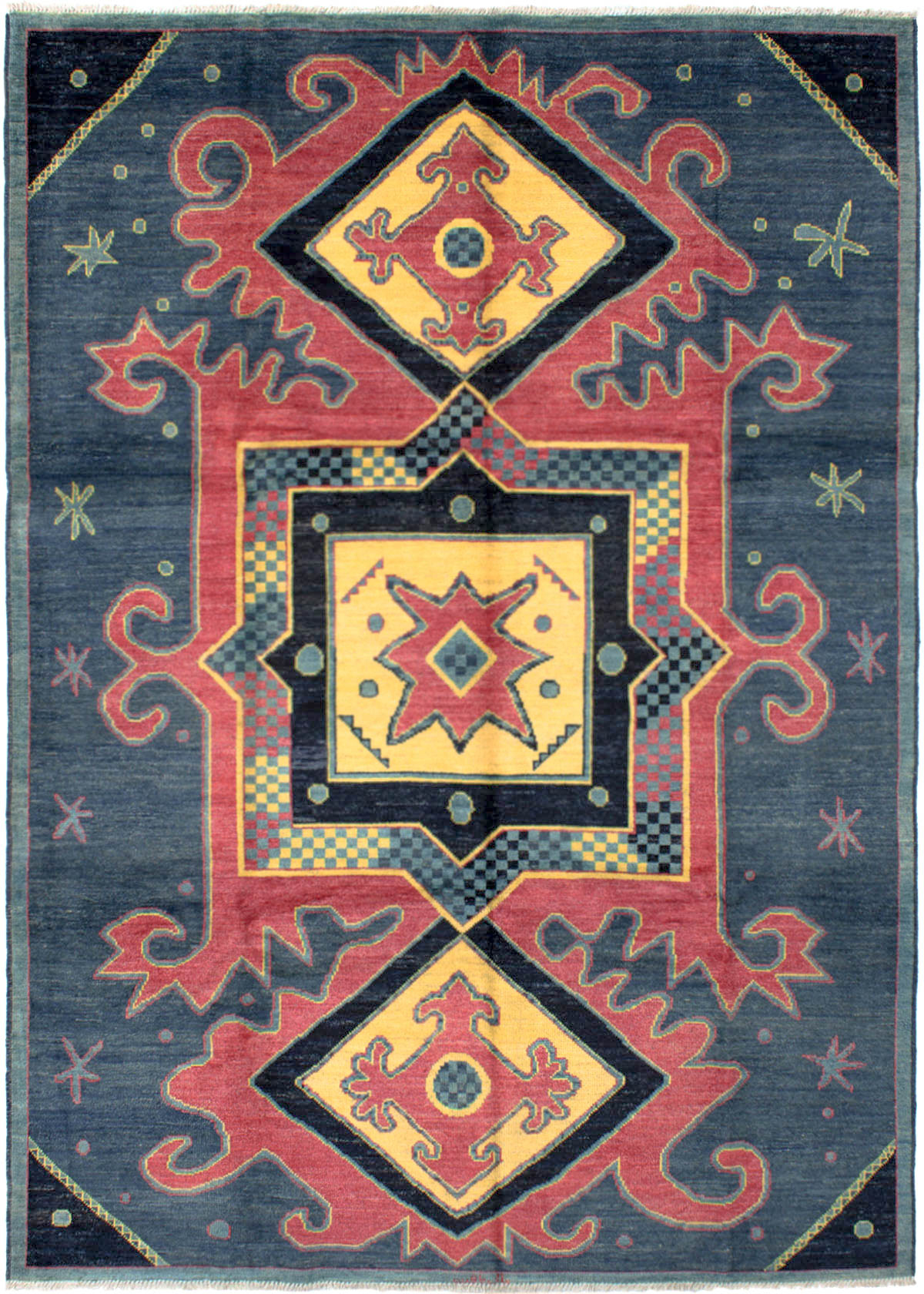 """Hand-knotted Shalimar Dark Blue, Red Wool Rug 8'10"""" x 12'4"""" Size: 8'10"""" x 12'4"""""""