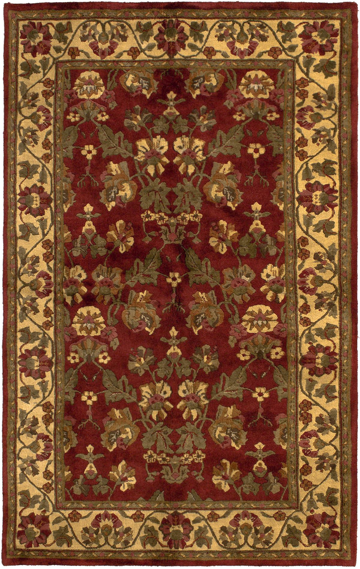 "Hand-knotted Varanasi Dark Red Wool Rug 5'0"" x 8'0"" Size: 5'0"" x 8'0"""