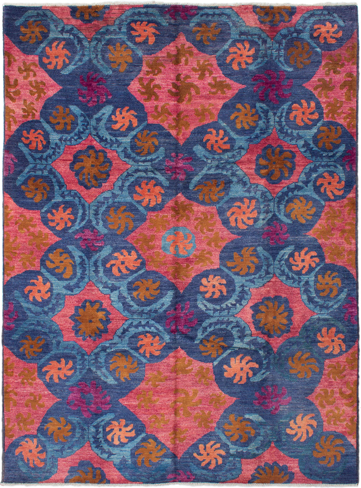 """Hand-knotted Shalimar Light Red, Navy Blue Wool Rug 9'1"""" x 12'3"""" Size: 9'1"""" x 12'3"""""""