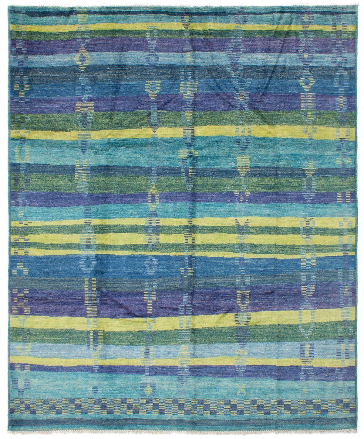 "Hand-knotted Shalimar Cyan, Denim Blue Wool Rug 8'2"" x 9'10"" Size: 8'2"" x 9'10"""