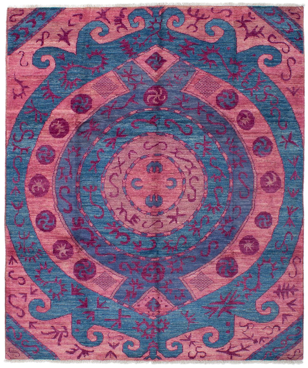 """Hand-knotted Shalimar Blue, Salmon Wool Rug 8'5"""" x 9'10"""" Size: 8'5"""" x 9'10"""""""
