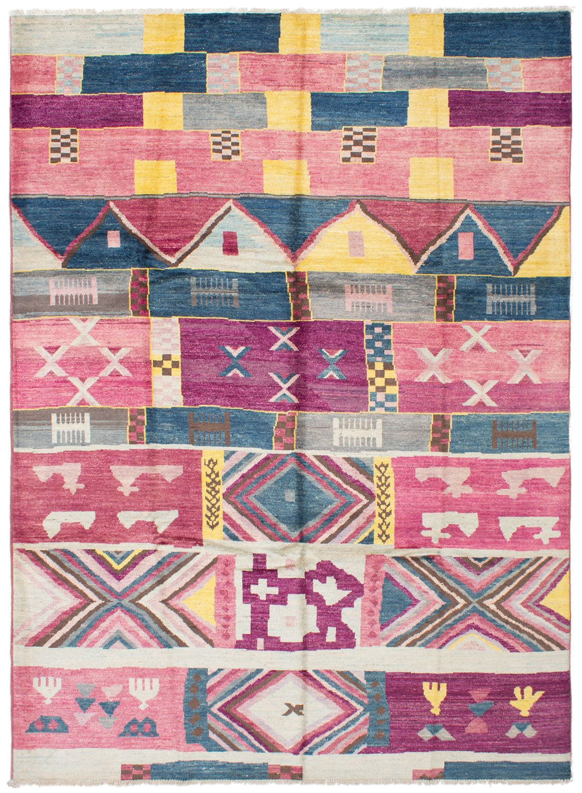 "Hand-knotted Shalimar Burgundy, Dark Pink Wool Rug 9'2"" x 12'6"" Size: 9'2"" x 12'6"""